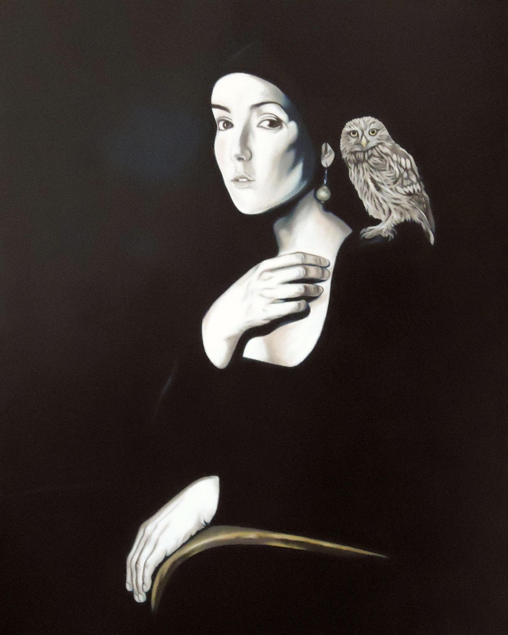 ' Käuzchen mit Dame ' Öl auf LW, 100 x 80 cm, 2016