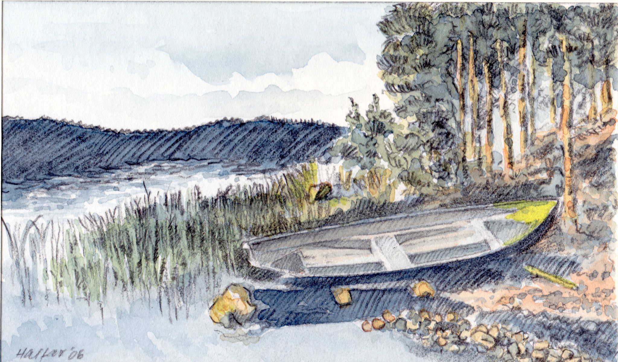' Saimaa Seen' Finnland, Aquarell/Pittstift, 15 x 20 cm, 2006
