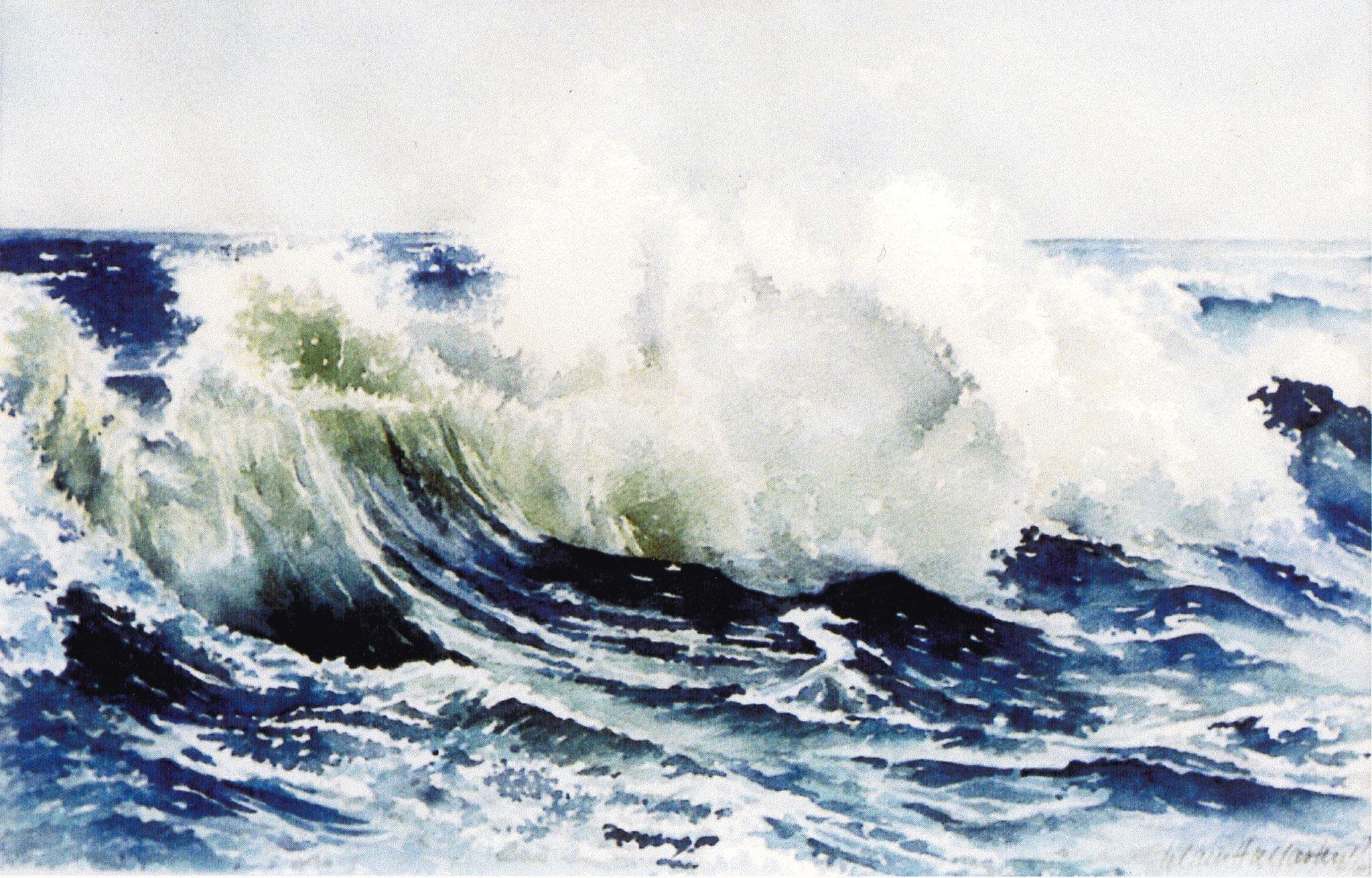 ' Große Welle ' Aquarell, 30 x 45 cm, 1983