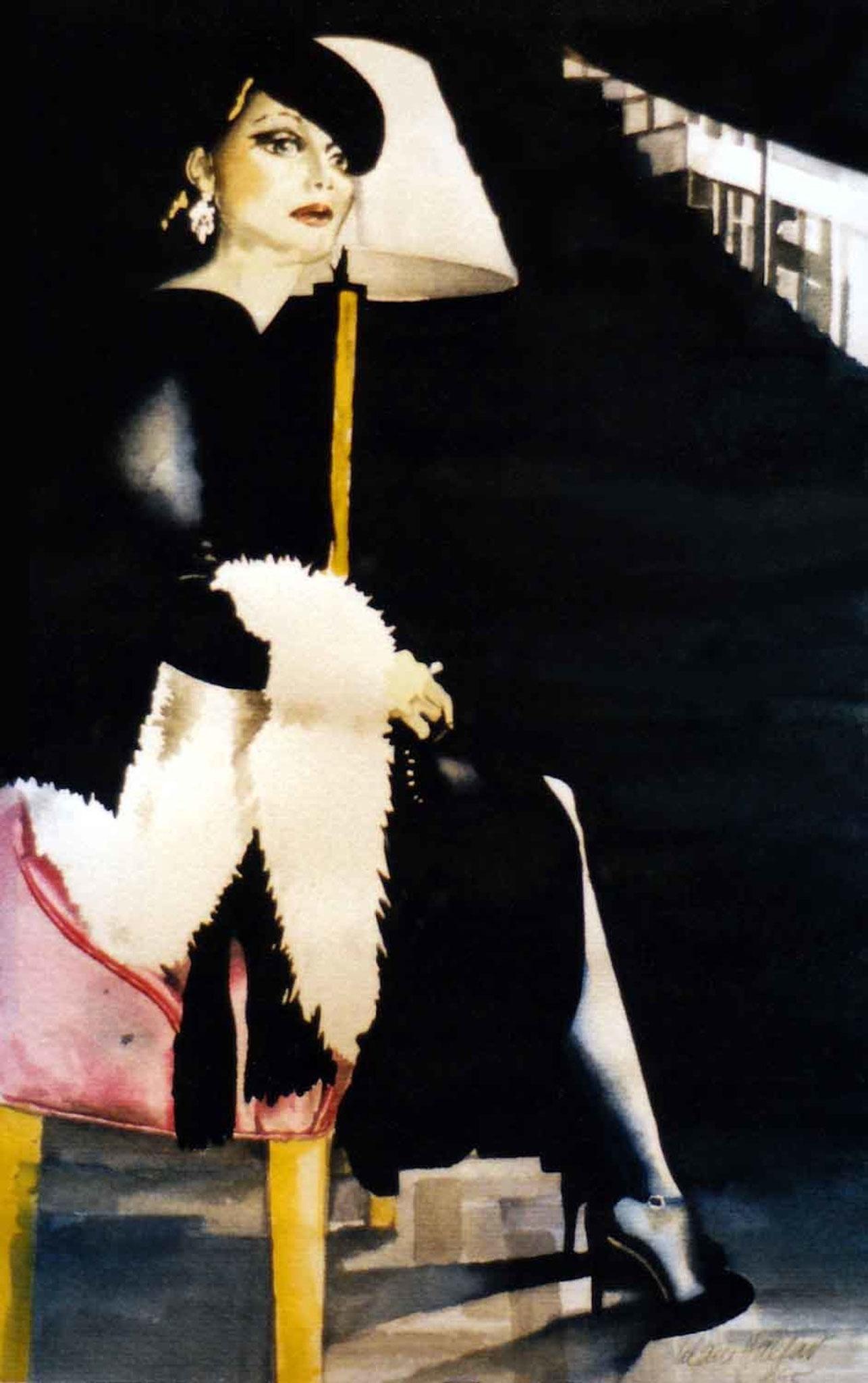 ' Frau Schwarz ' Aquarell, 40 x 30 cm, 1995