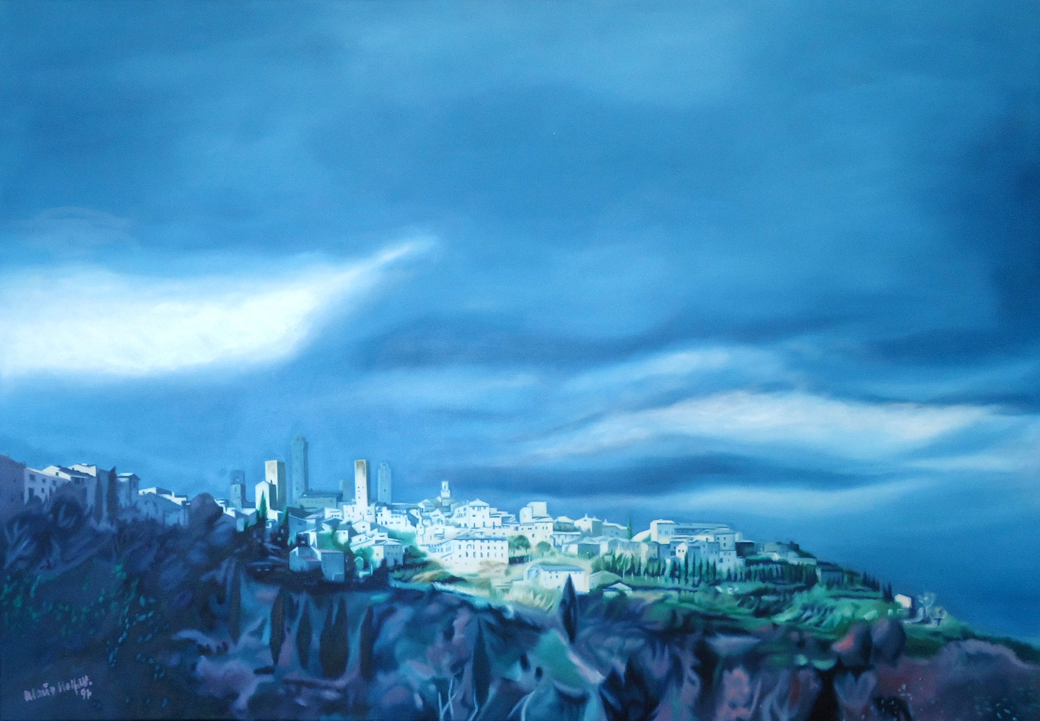 ' Ansicht der Stadt San Gimignano, Italien ' Öl a. LW, 80 x 100 cm, 1997