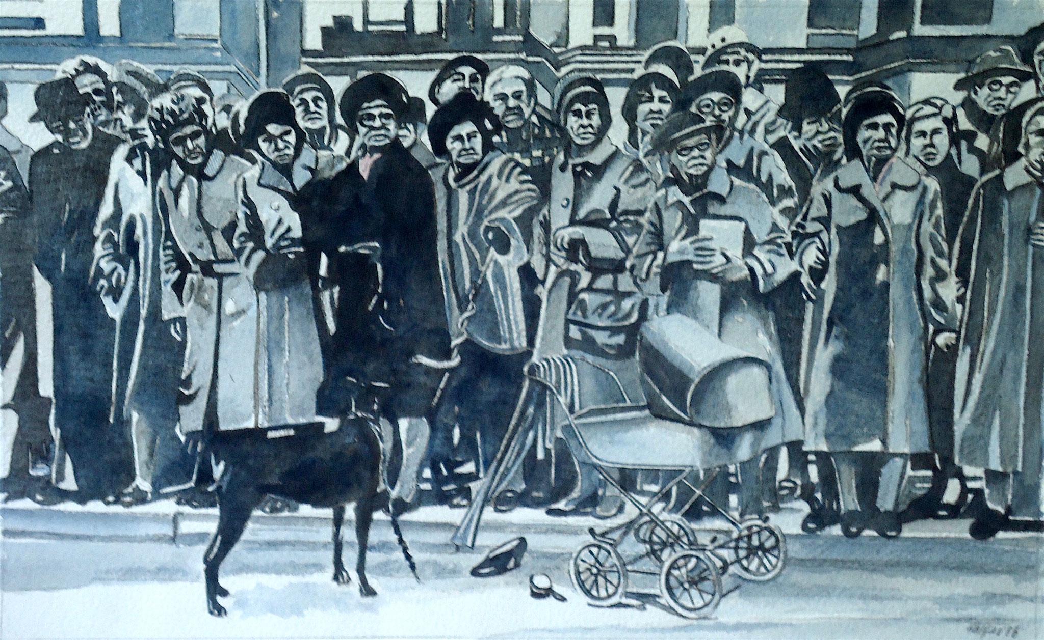 ' Was geschah mit Adelaide' Aquarell, 39 x 54 cm, 1986