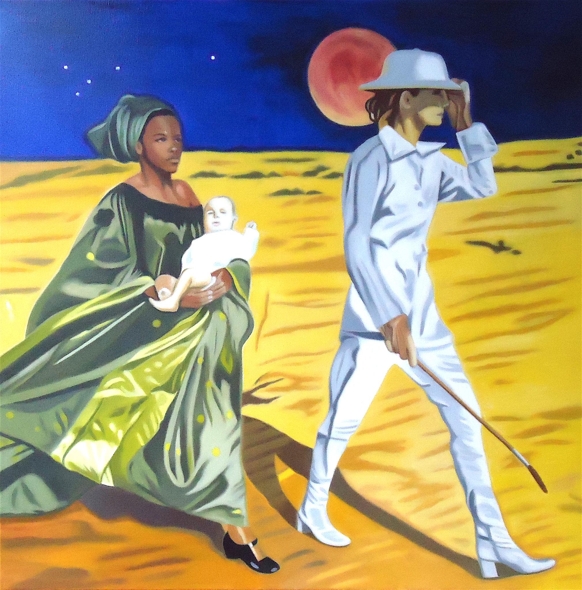 ' Wenn der Tag die Nacht umarmt ' Öl a. LW, 90 x 90 cm, 2019, Hommage Newton II