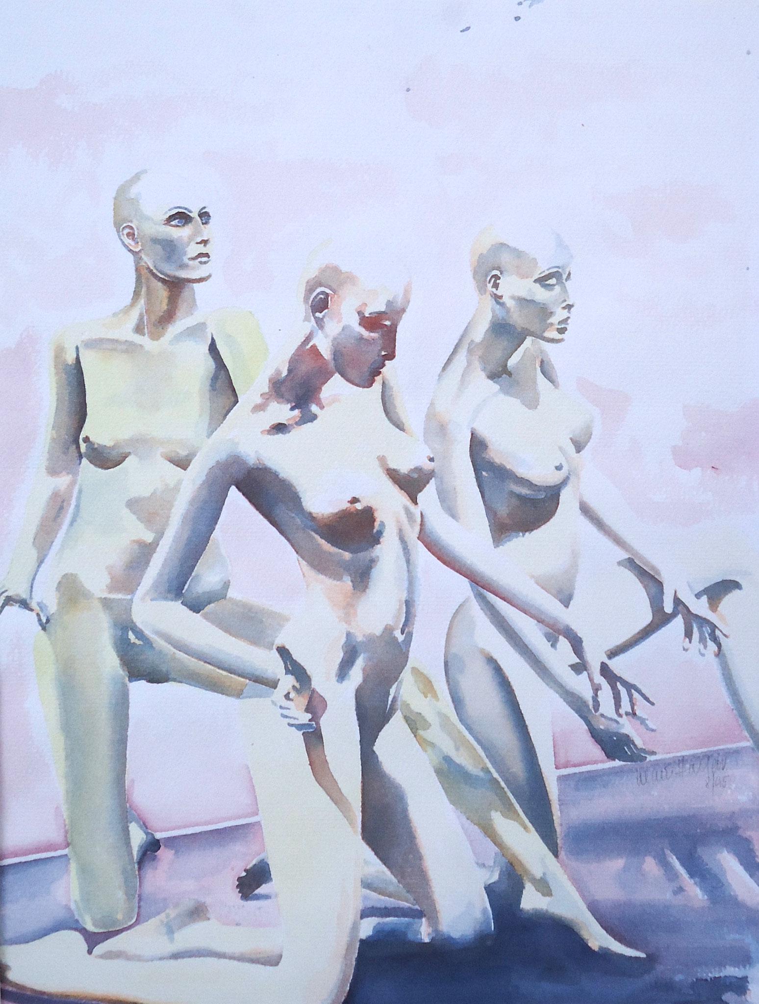 ' Kniefall ' Aquarell, 25 x 35 cm, 1995