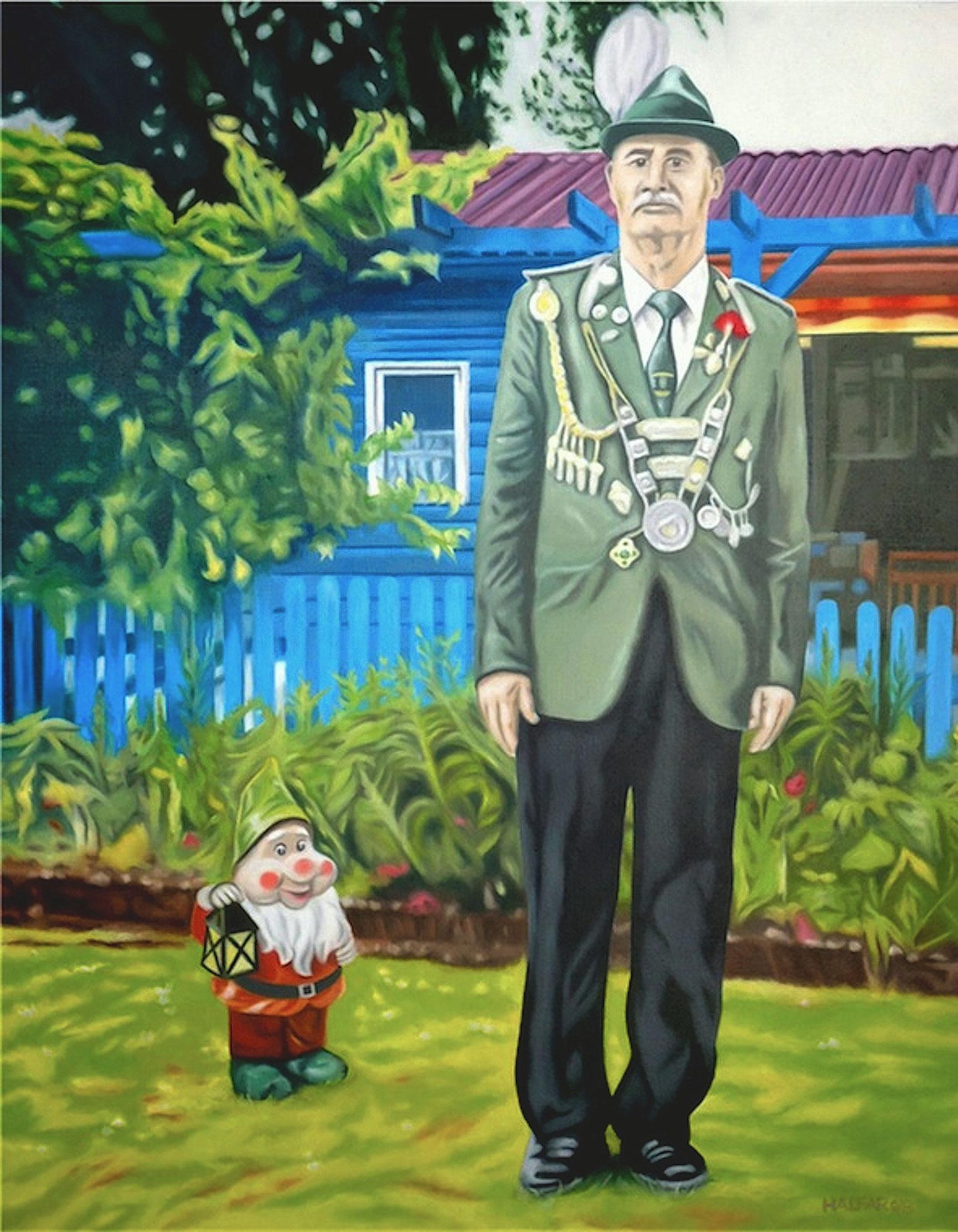 ' Entdecke den Spießer in dir ' Öl a. LW, 100 x 80 cm, 2011