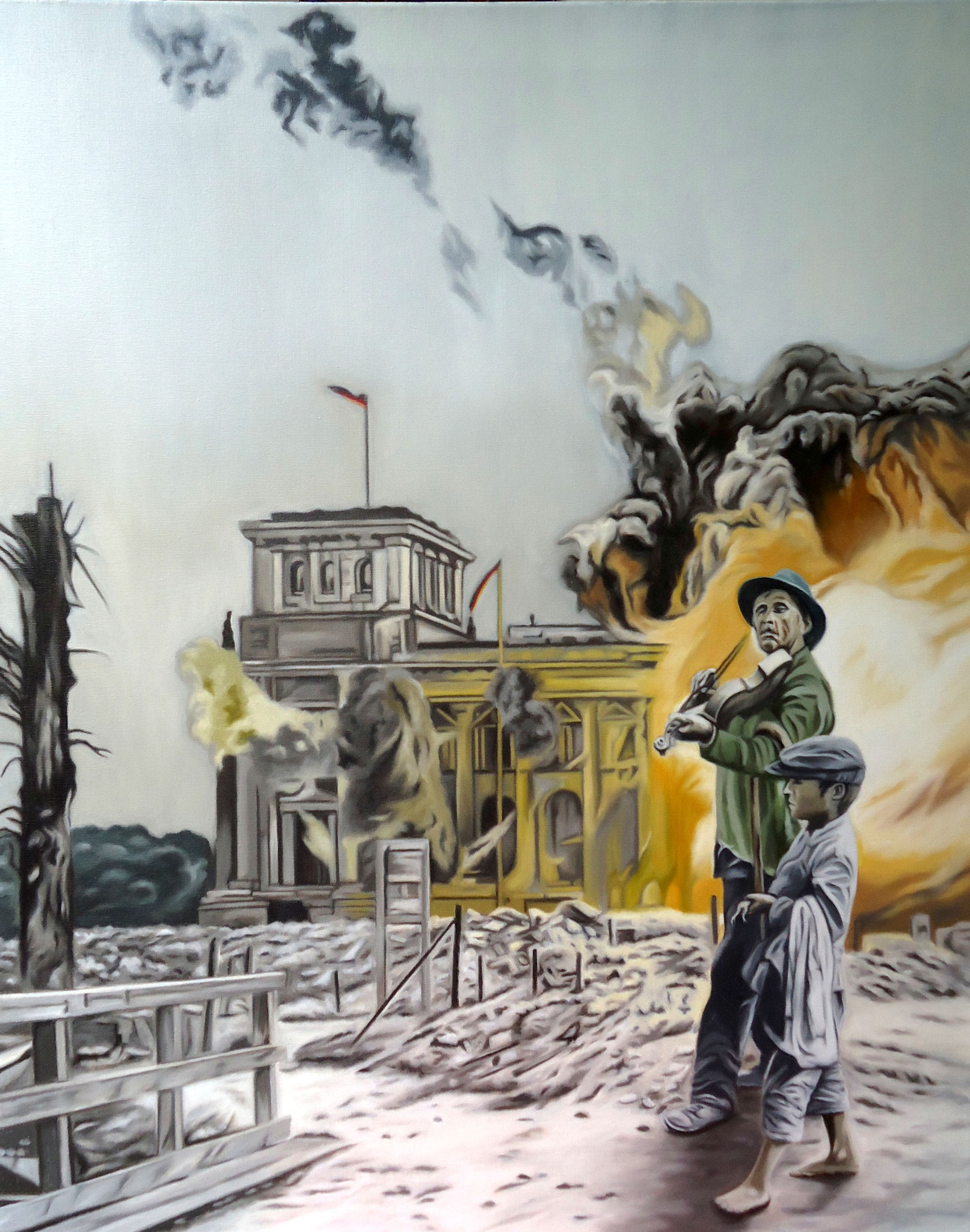 ' Himmel über Berlin ' Öl a. LW, 100 x 80 cm, 2017