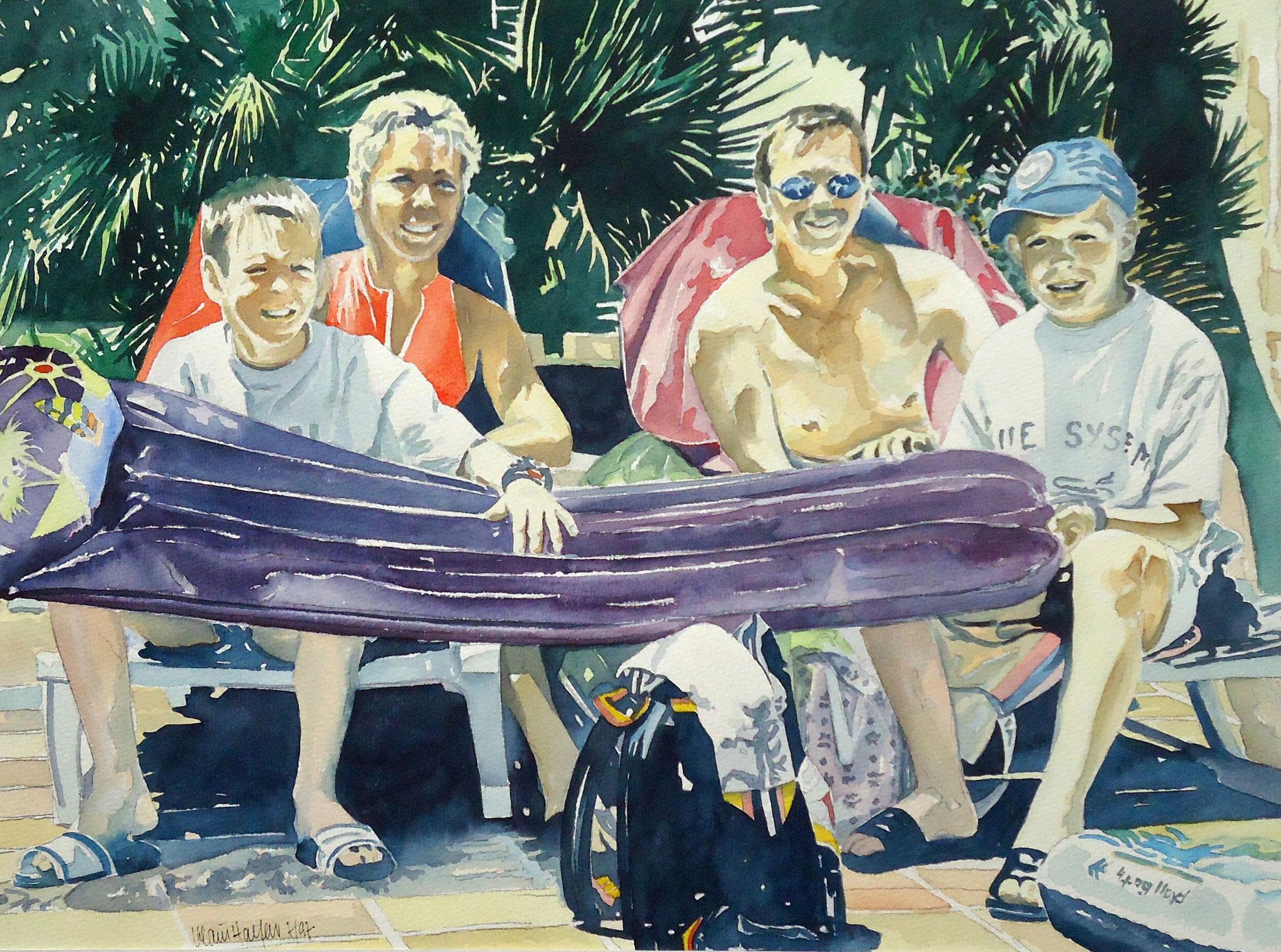' Familie W. ' Aquarell, 30 x 40 cm, 1993
