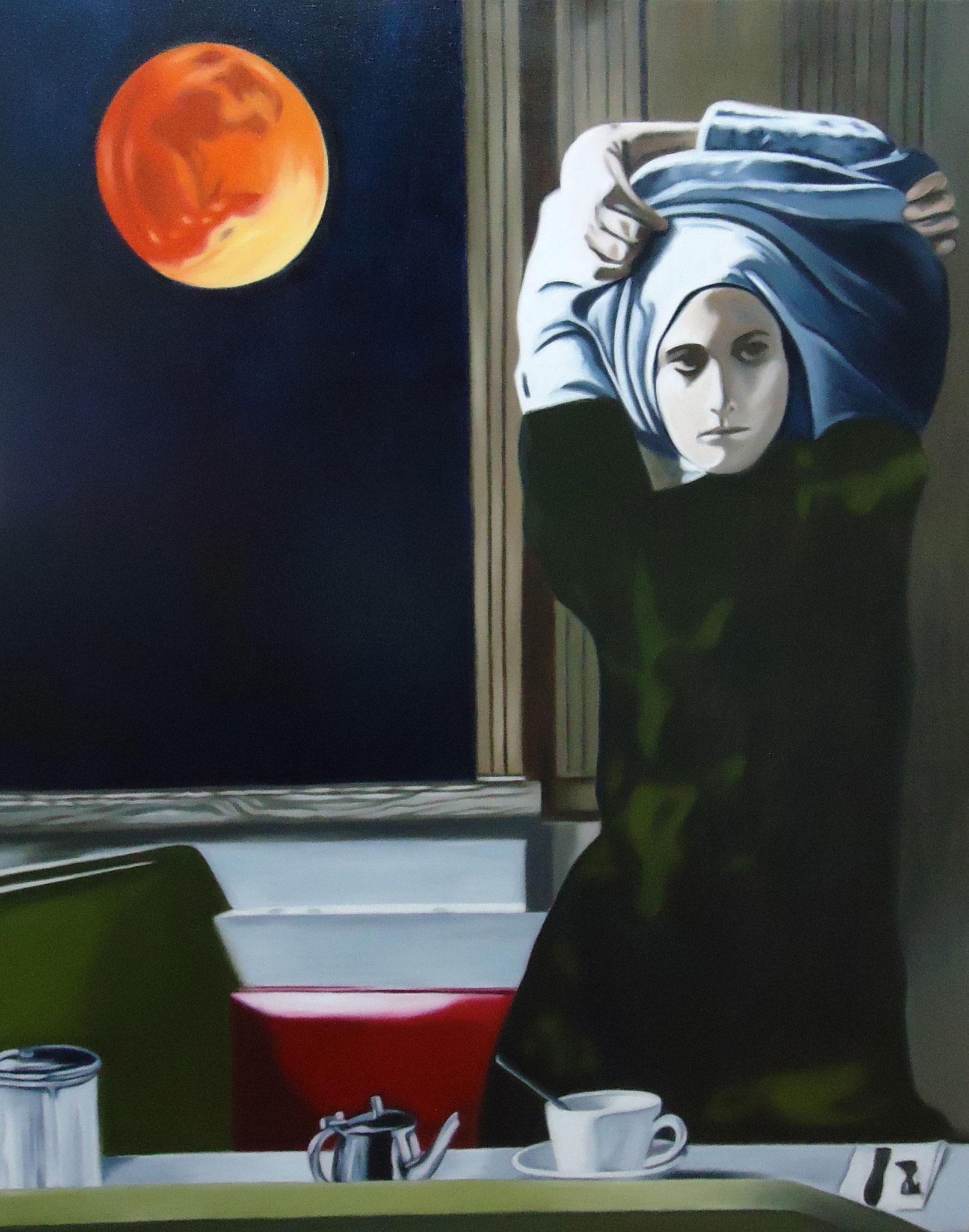 ' Blutmond ' Öl a. LW, 100 x 80 cm, 2016