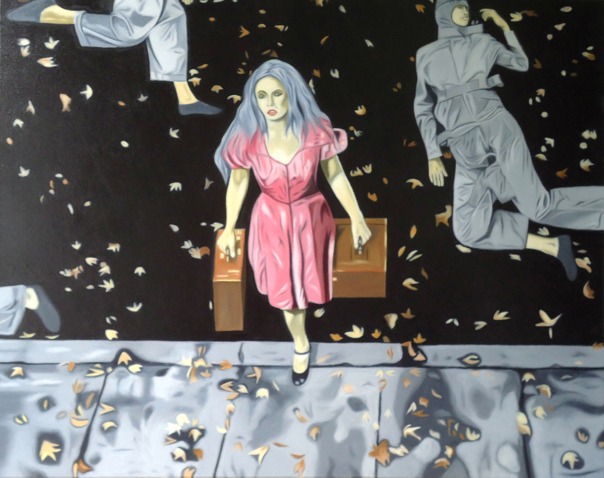 ' Die Flucht ' Öl a. LW, 80 x 100 cm, 2019