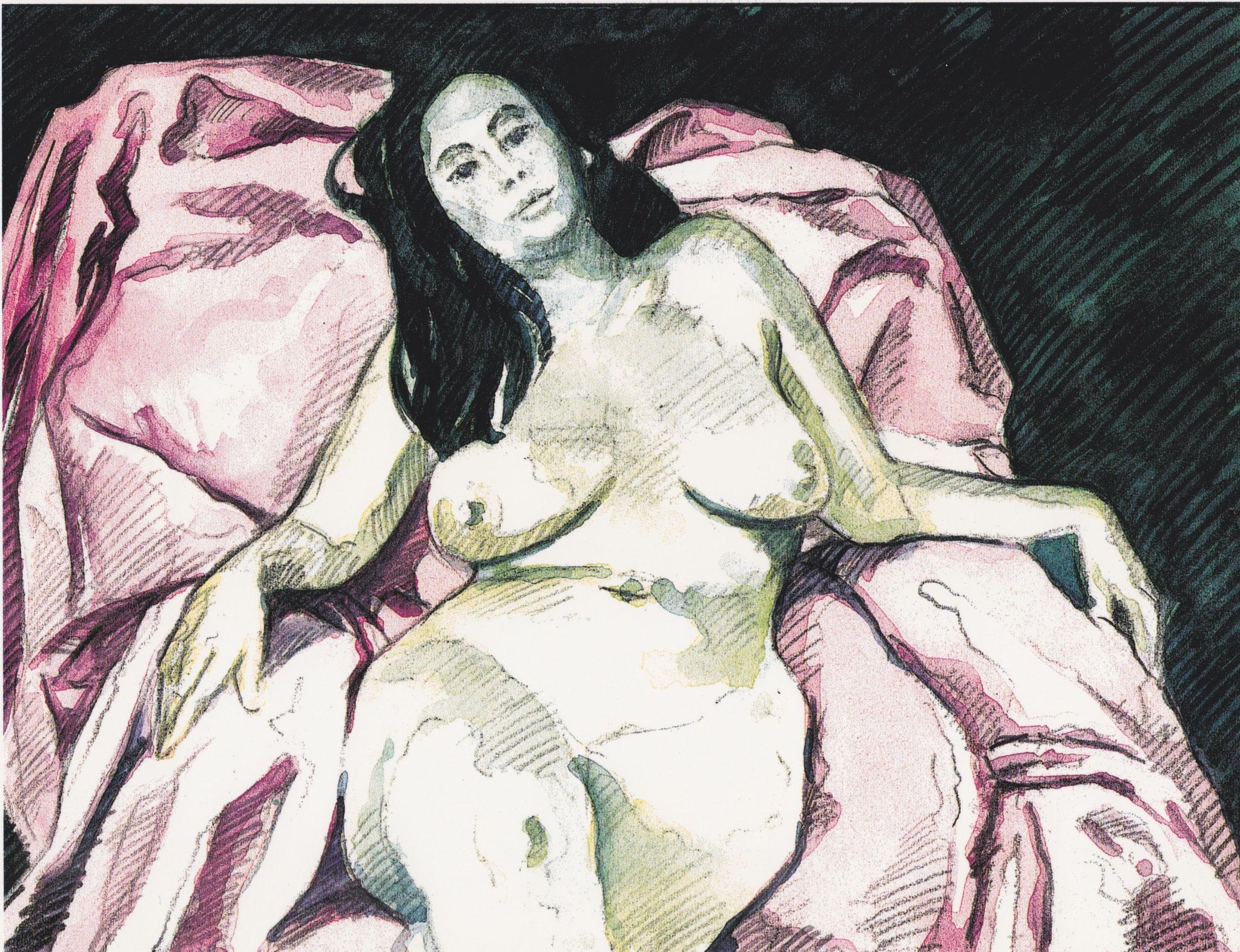 Aktstudie, mixed media Aquarell/Pittstift, 20 x 30 cm, 2006