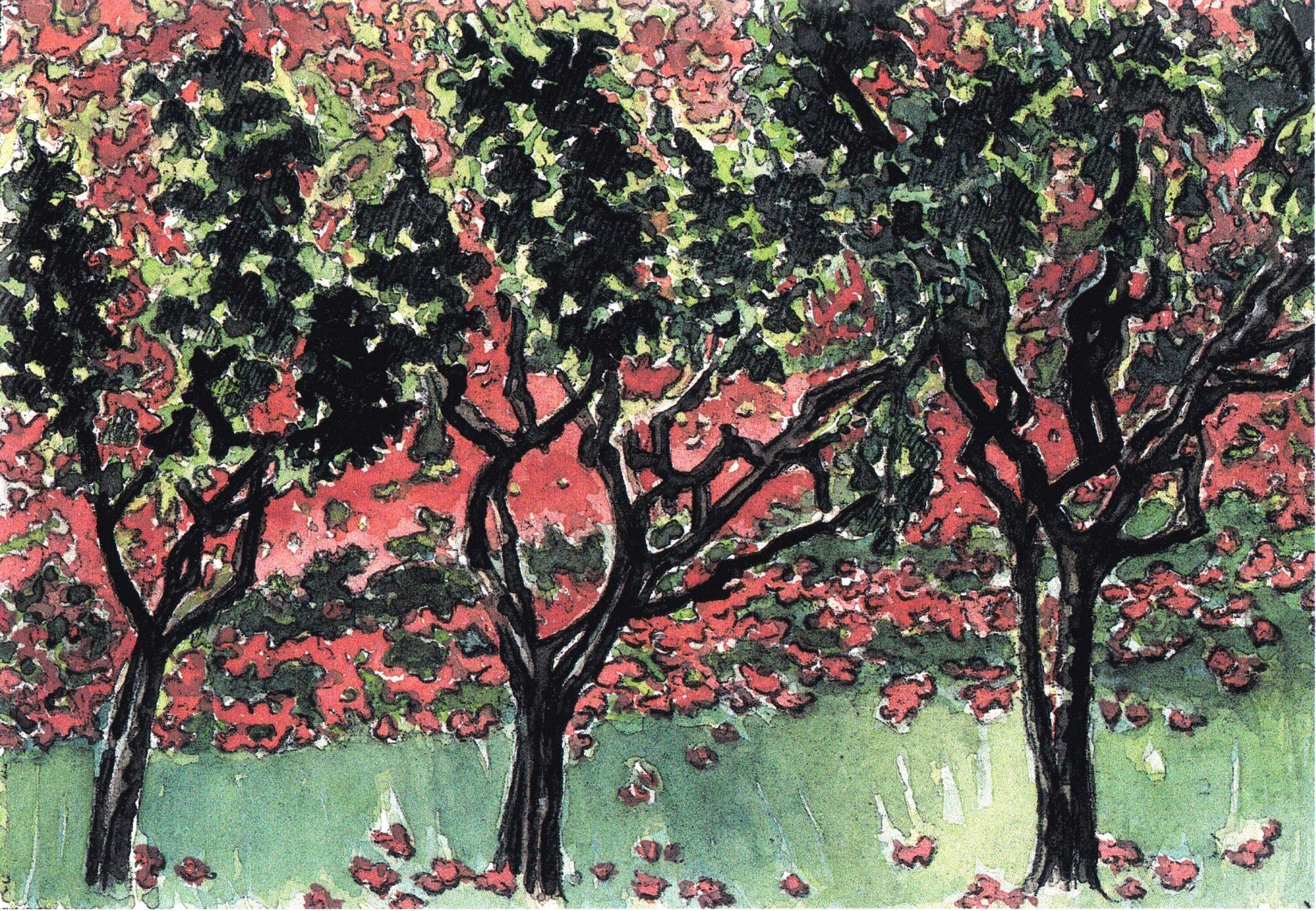 ' Olivenhain ' Aquarell/Pittstift, 17 x 22 cm, 2006