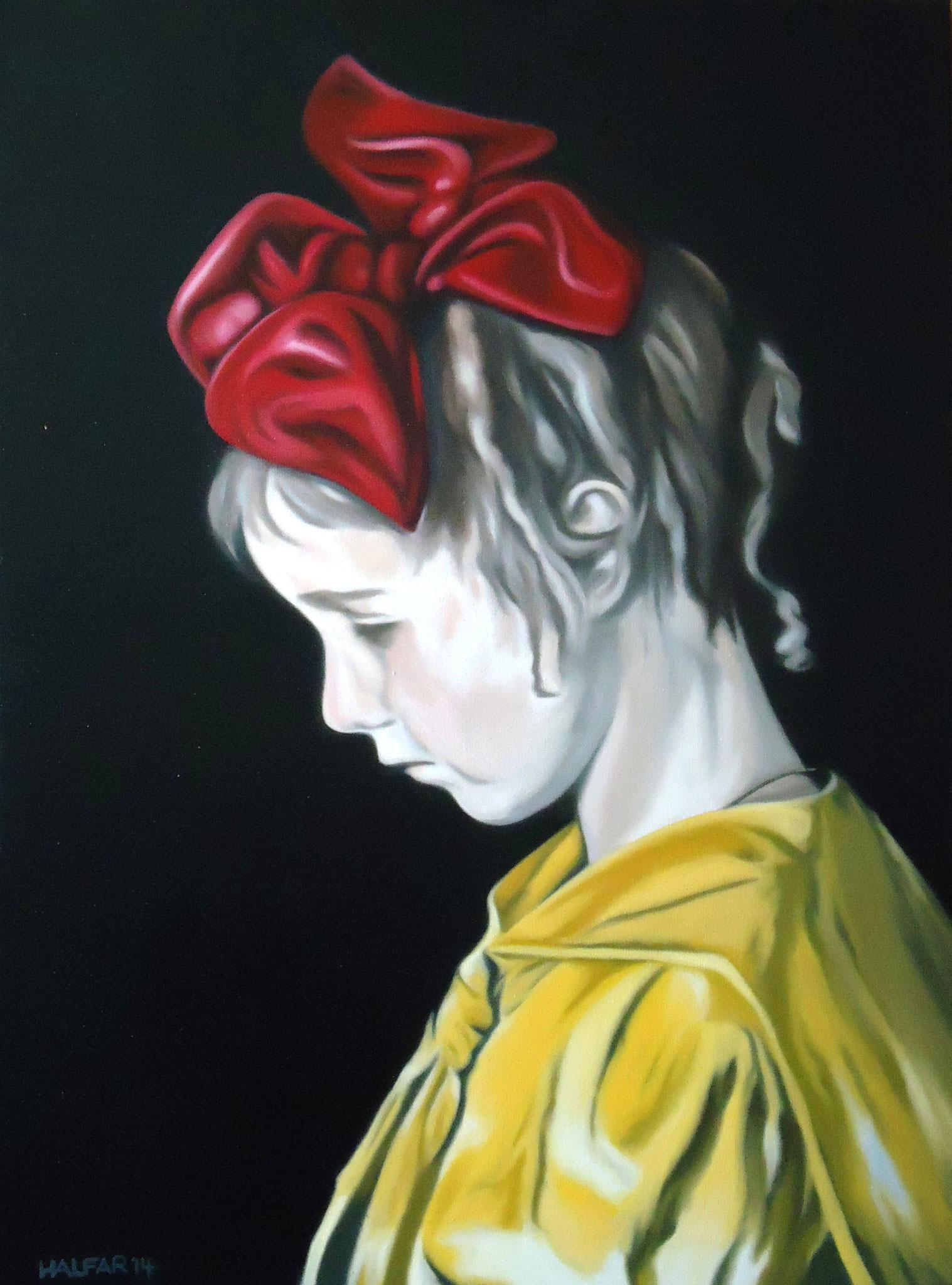 ' Trauriges Mädchen ' Öl a. LW, 70 x 50 cm, 2014