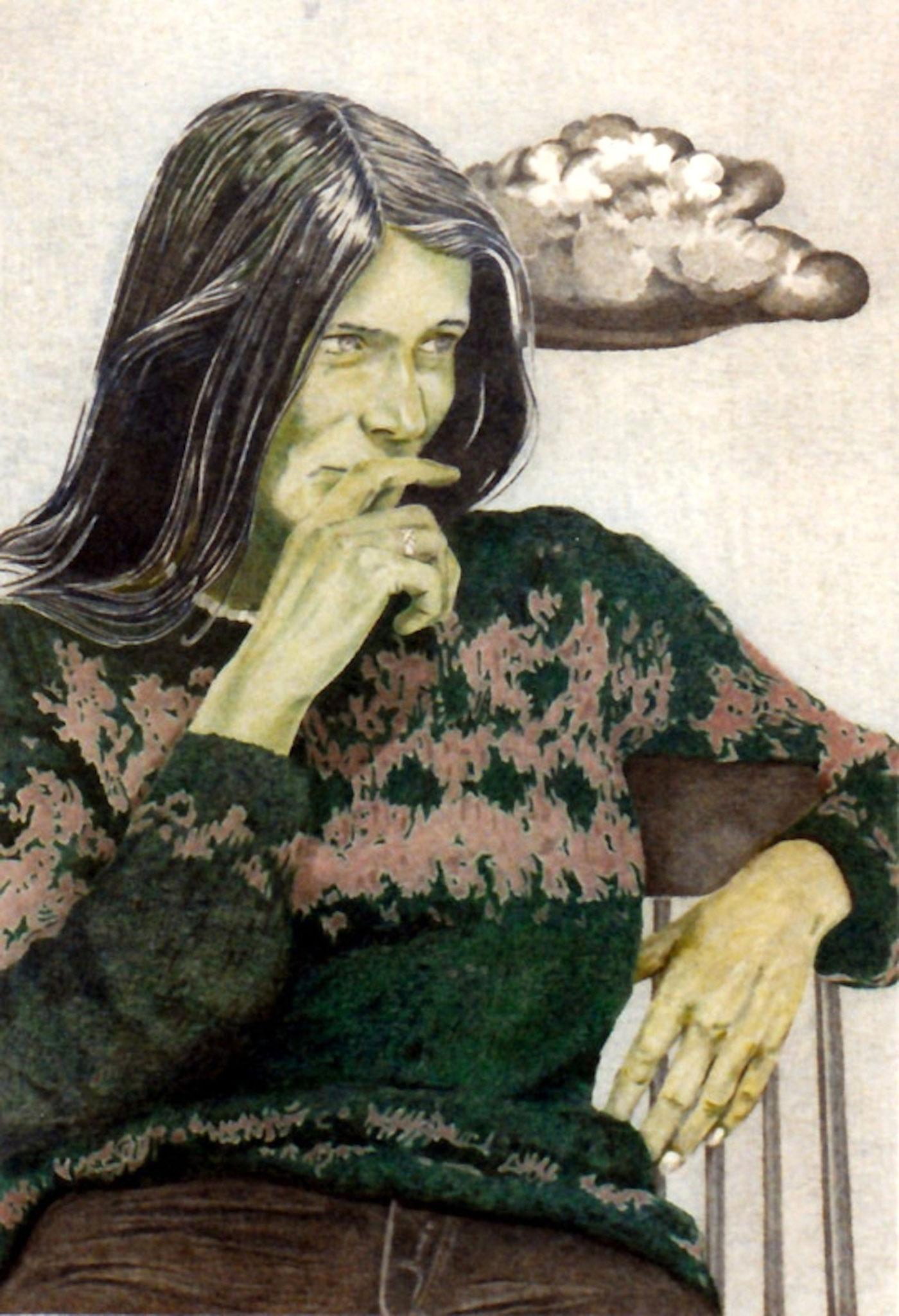 ' A. und die Wolke ' Mixed Media, Bleistift/Farbstift, 30 x 20 cm, 1982