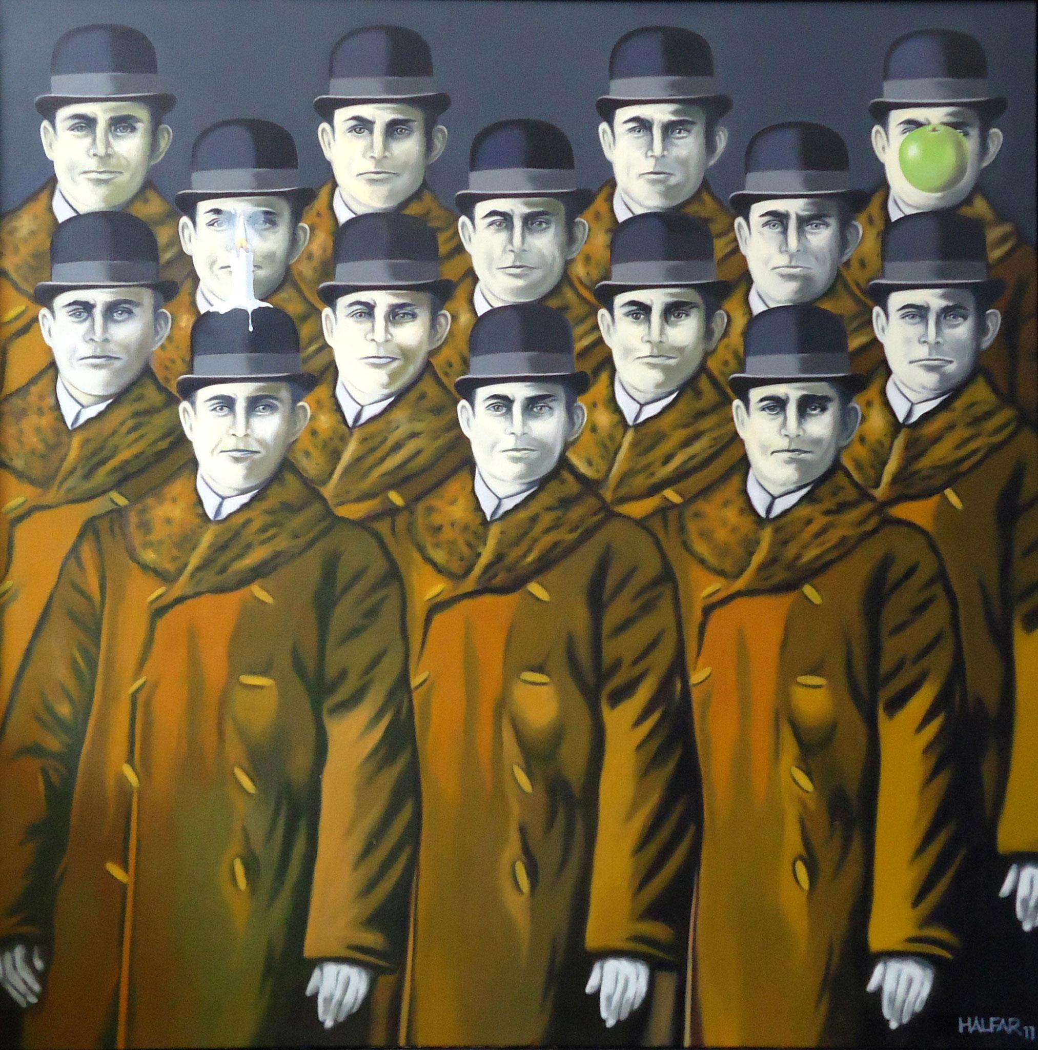 ' Hommage Renè Magritte ' Öl a. LW, 100 x 100 cm, 2011