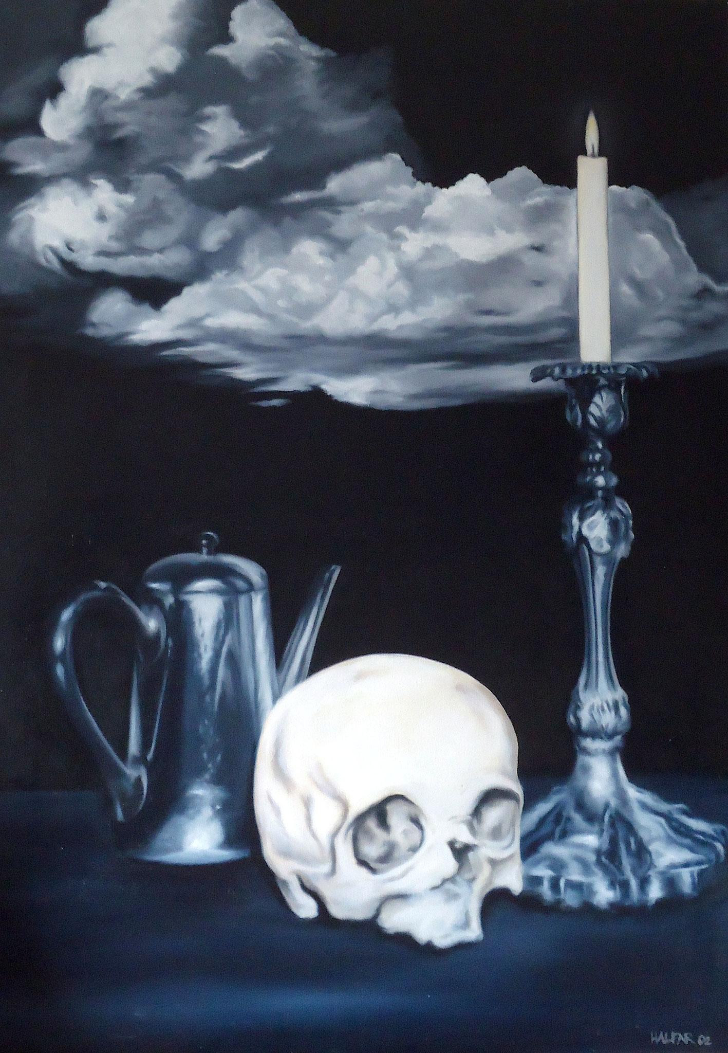 ' Stilleben mit Schädel ' Öl a. LW, 100 x 70 cm, 2002