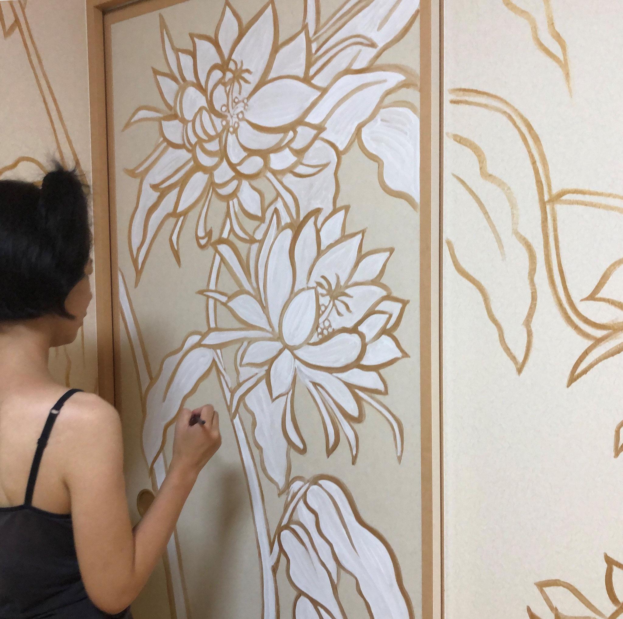 和室を華やかに壁画