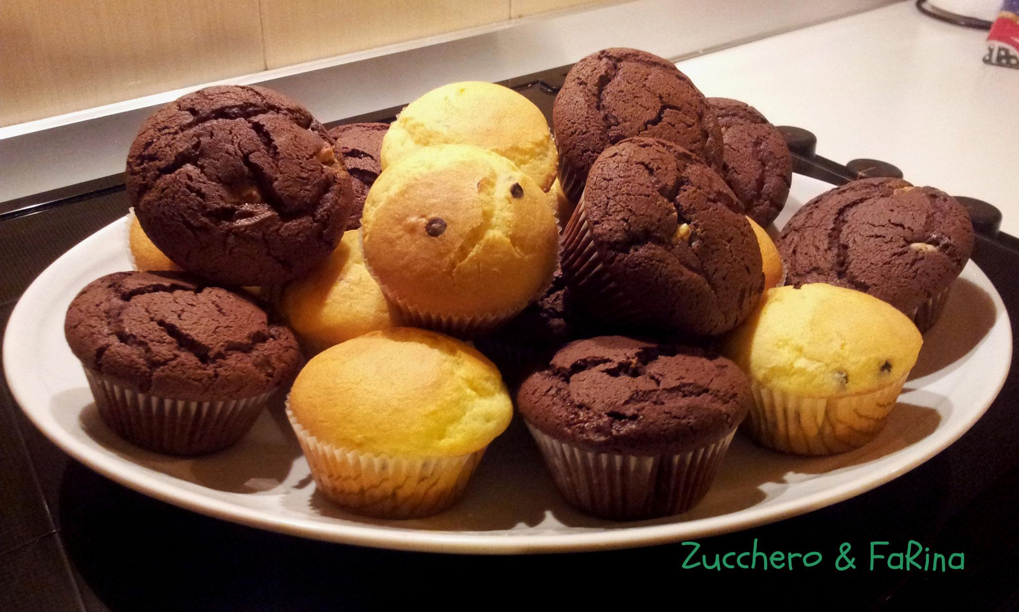Muffin al cioccolato e semplici alla vaniglia con gocce di cioccolato
