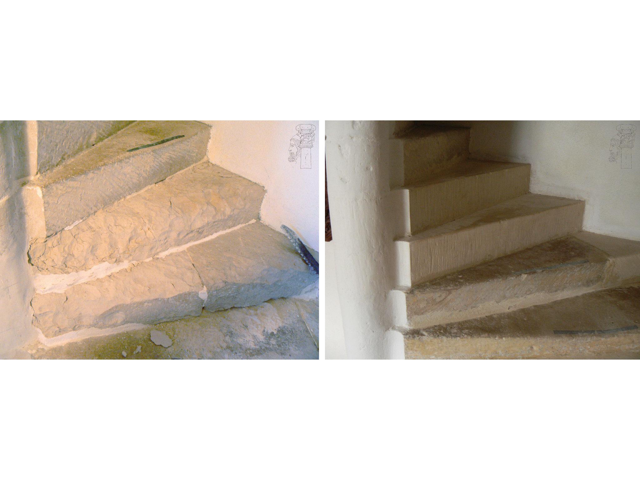 Restauration escalier en vis avant/après