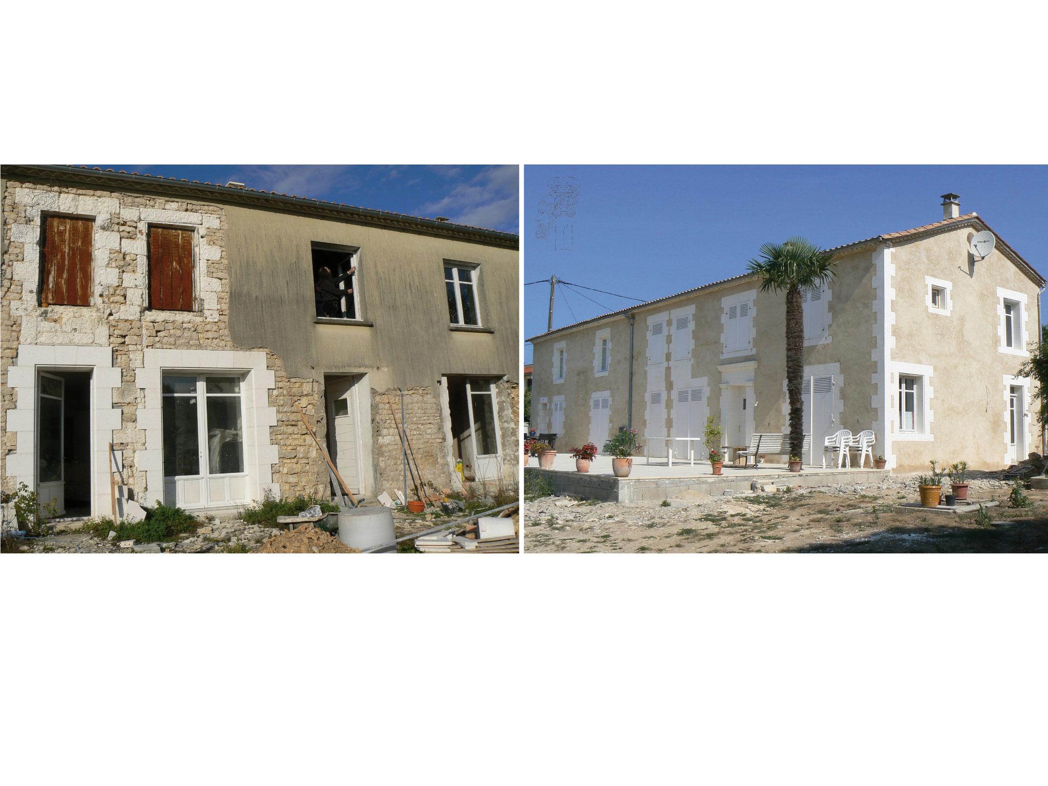 Restauration complète d'une façade Avant/Après