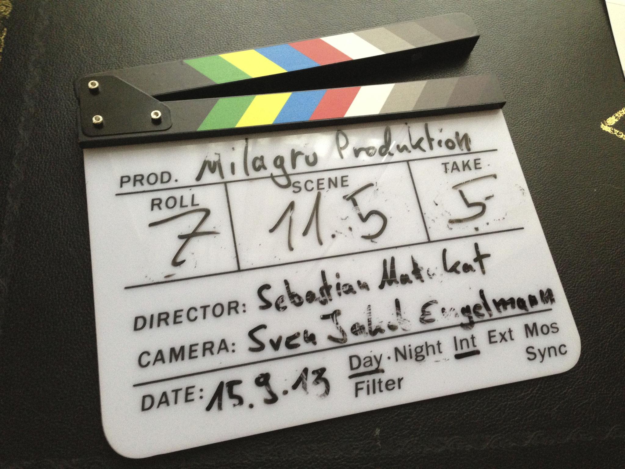 milagro produktion Filmklappe