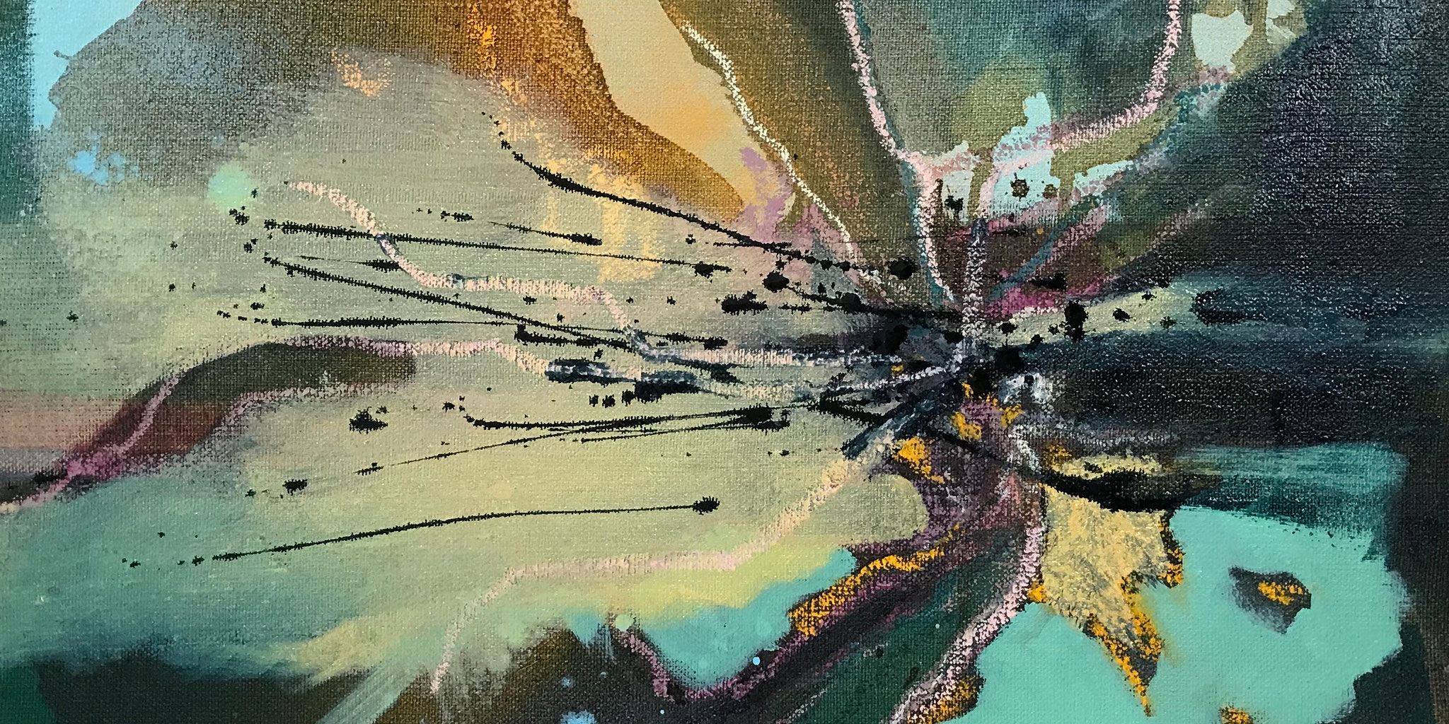 detail of: daddy longlegs winter 2 | 50 x 50 cm | oil and mixedmedia on canvas | 2020