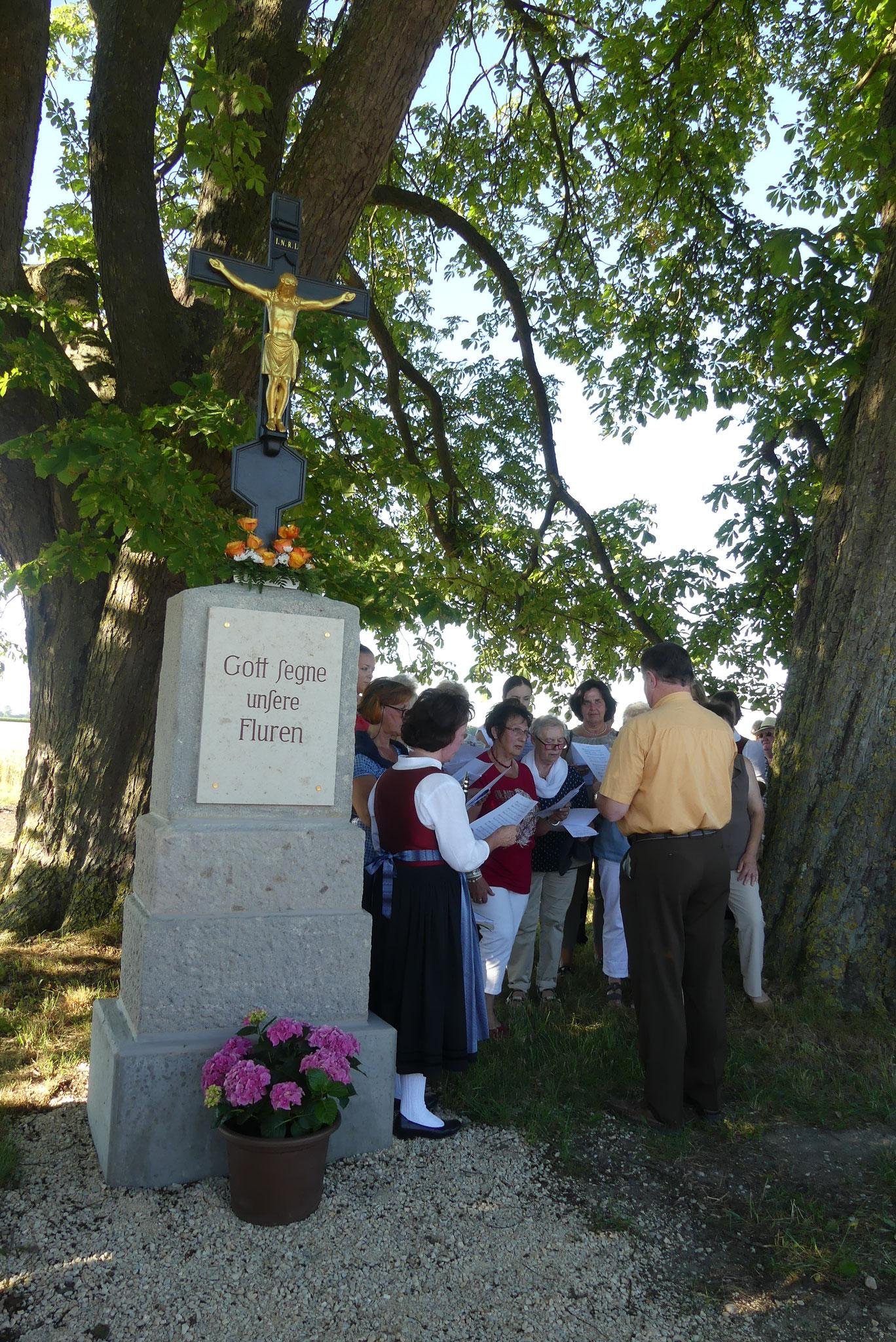 Der Ellgauer Obst- und Gartenbauverein und die Waldgenossenschaft ermöglichten die Renovierung des Wegkreuzes zwischen Ellgau und Nordendorf. Der Kirchenchor unter Konrad und Elke Eser erfreute beim Bittgang mit einigen Liedbeiträgen