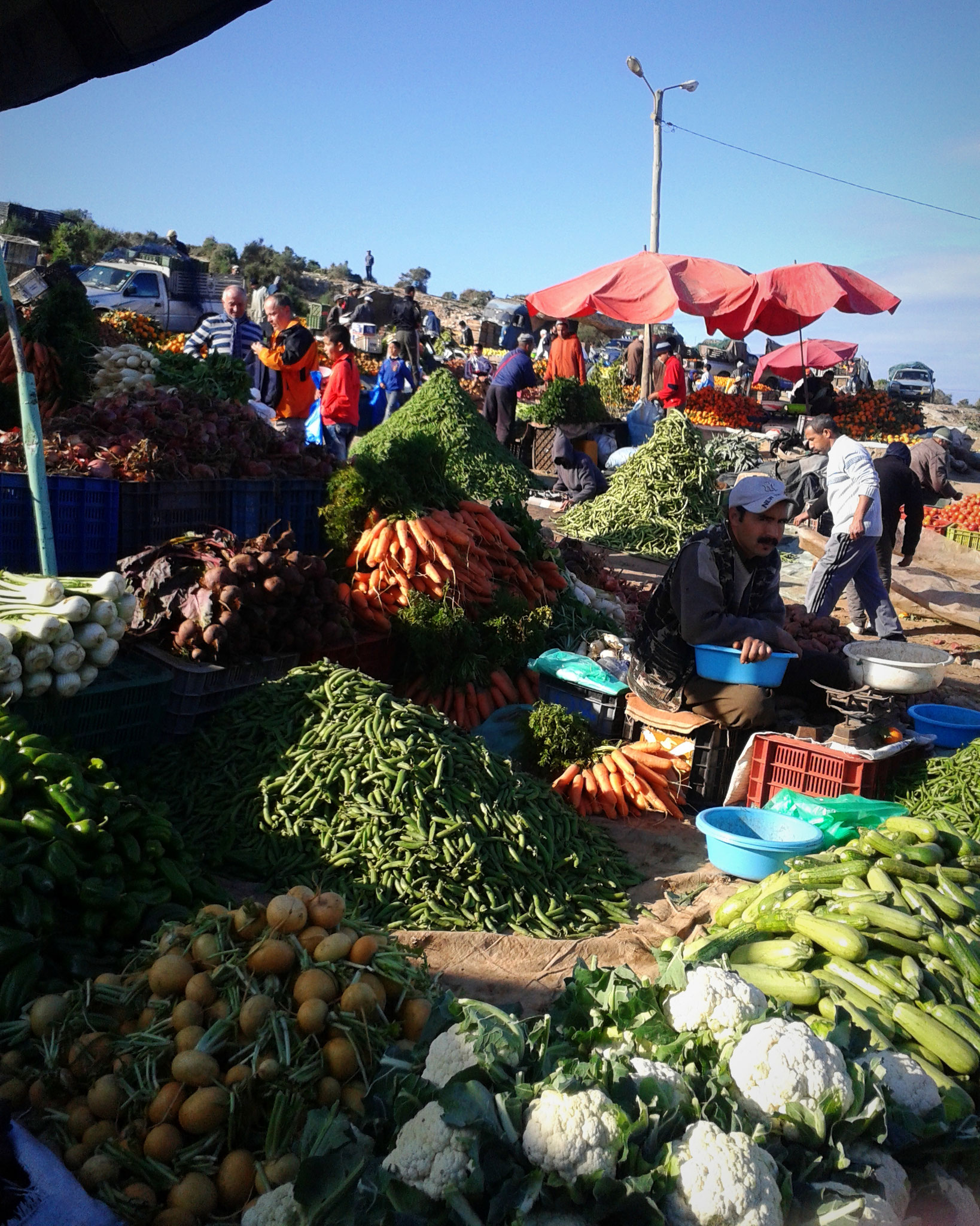 Fresh winter vegetable market in Morocco