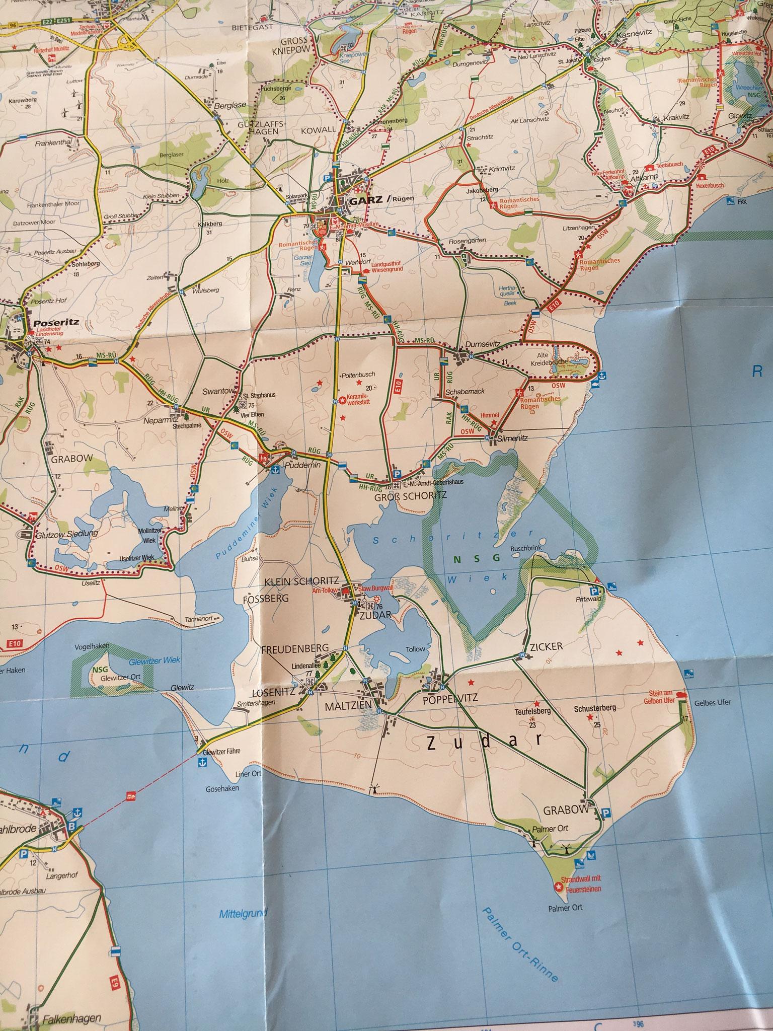Landkarte von Süd-Rügen