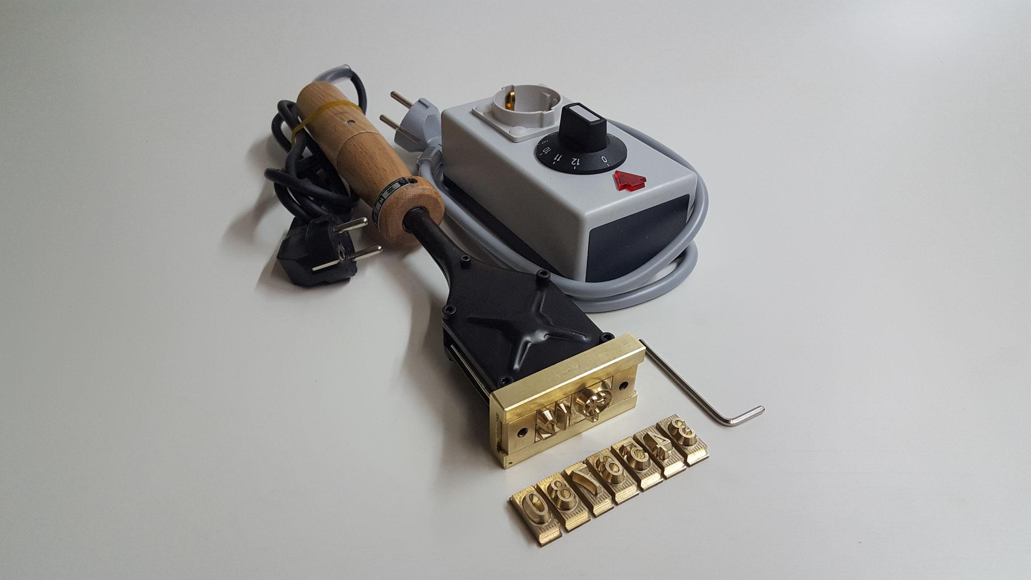 Brennstempel mit Holzgriff, Wechsel-Typen und Leistungsregler