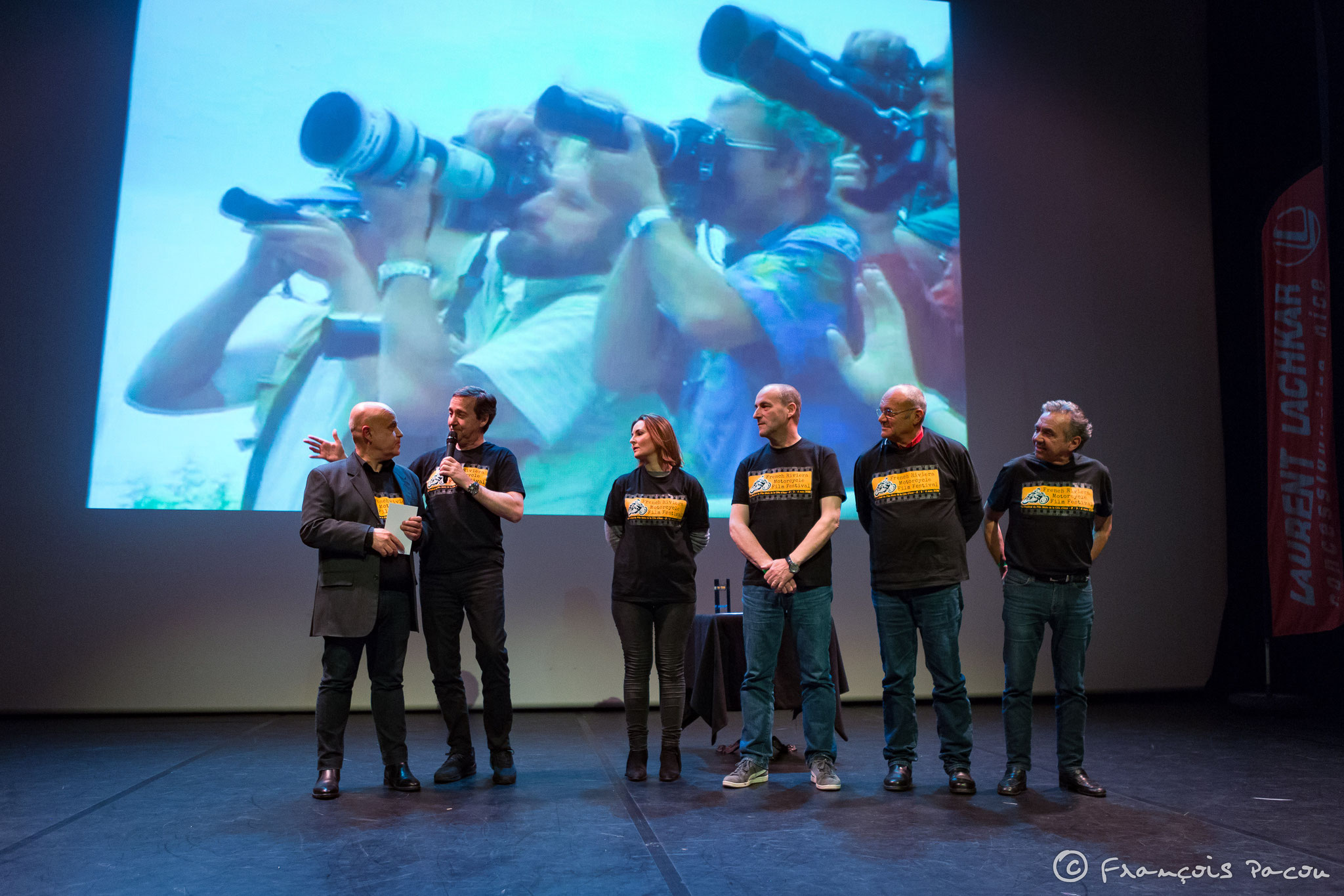 Left to right. Olivier Wagner and the jury, Freddie Spencer, Alexandra Catti, Didier Constant, Gérard Delio, Eric Saul.