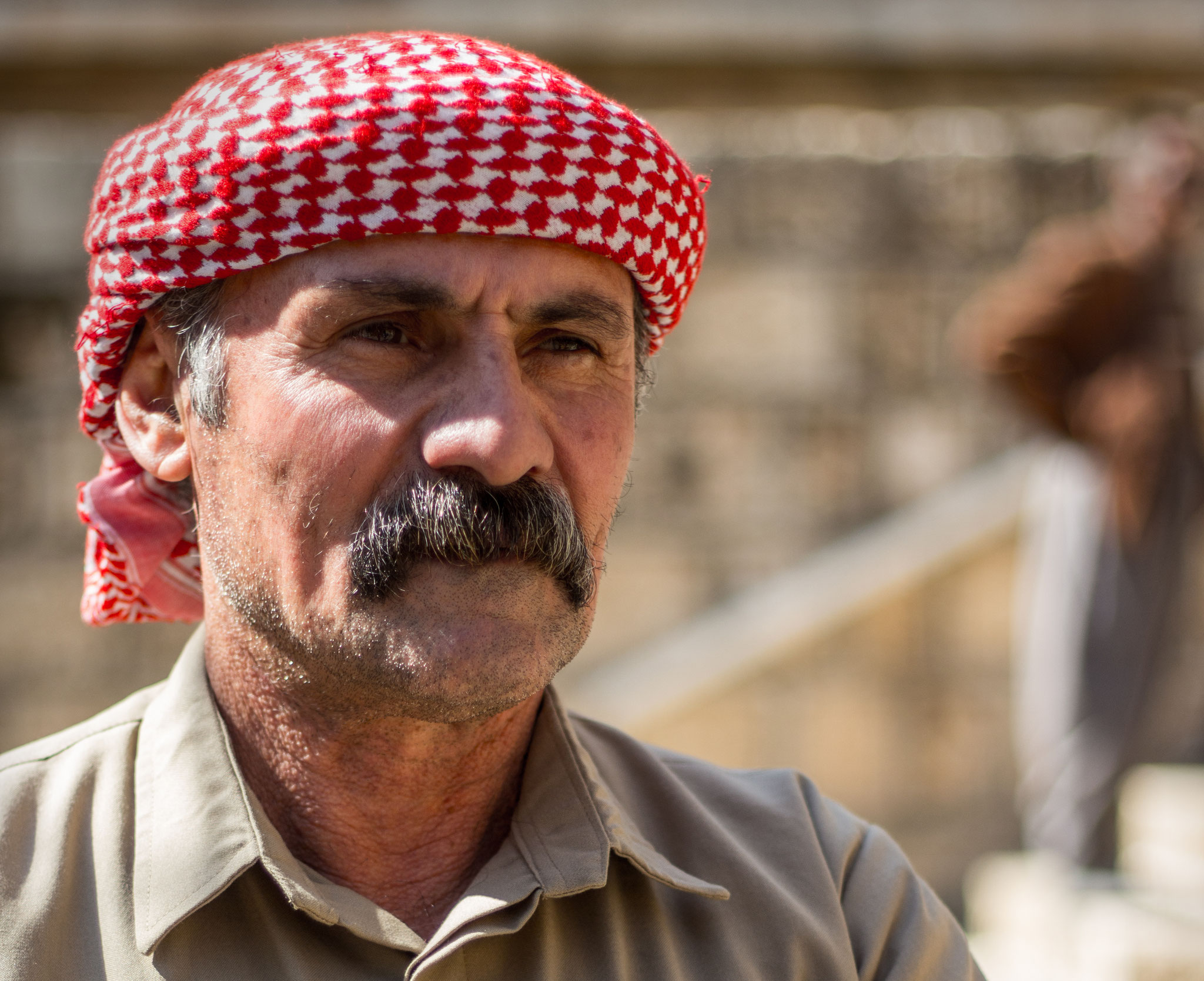 Man in traditional Kurdish dress in the Yazidi sanctuary in Lalish, Kurdistan/Iraq. March 2017.