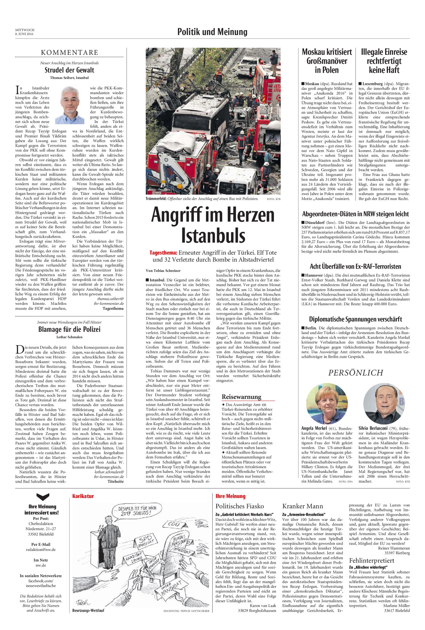 Neue Westfälische, [08.06.2016].  Texte und Fotos aus der Neuen Westfälischen sind urheberrechtlich geschützt.  Weiterverwendung nur mit schriftlicher Genehmigung der Redaktion.