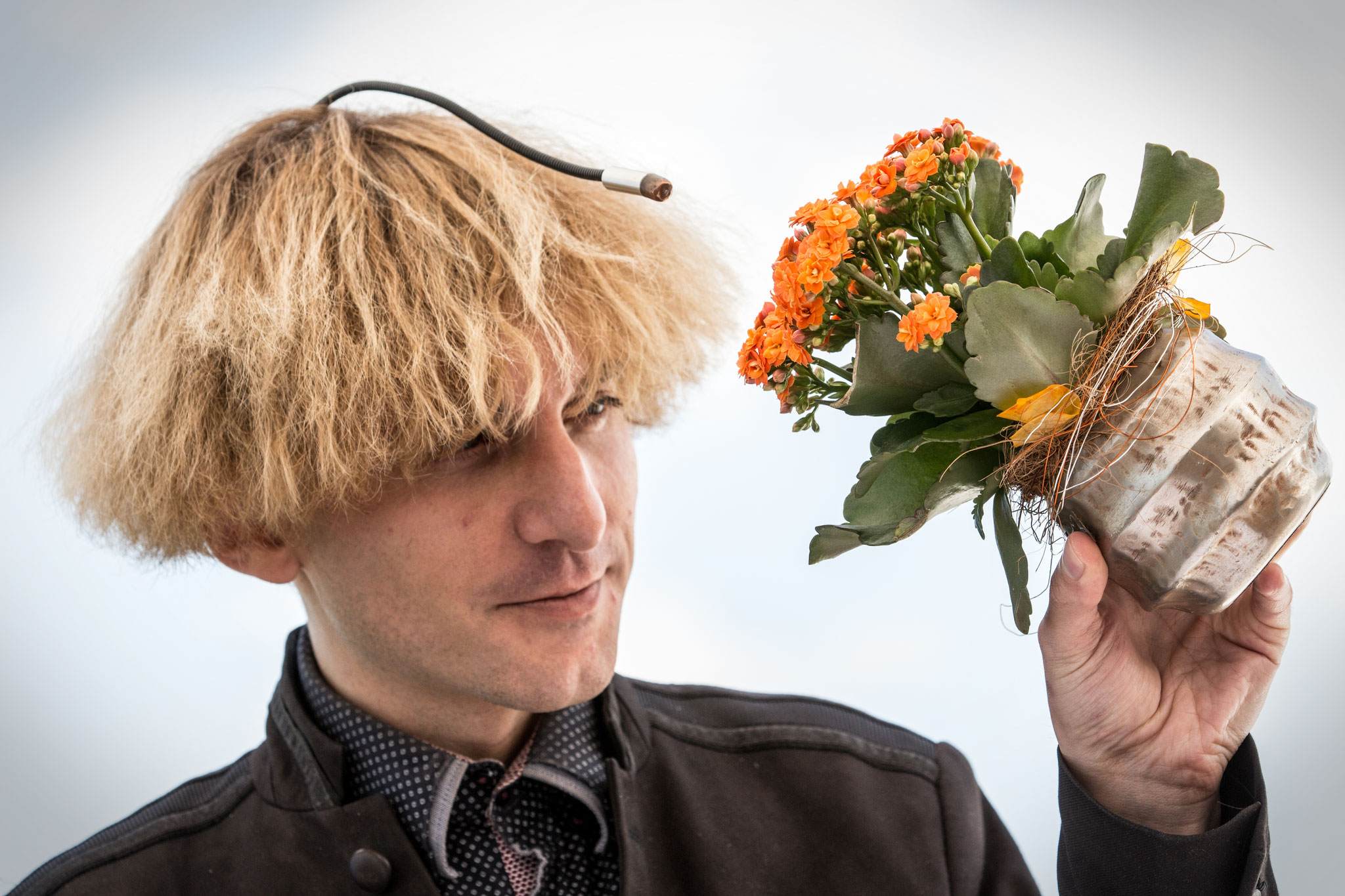 Neil Harbisson, British artist and the world's first officially recognized cyborg. St. Gallen, May 2017.