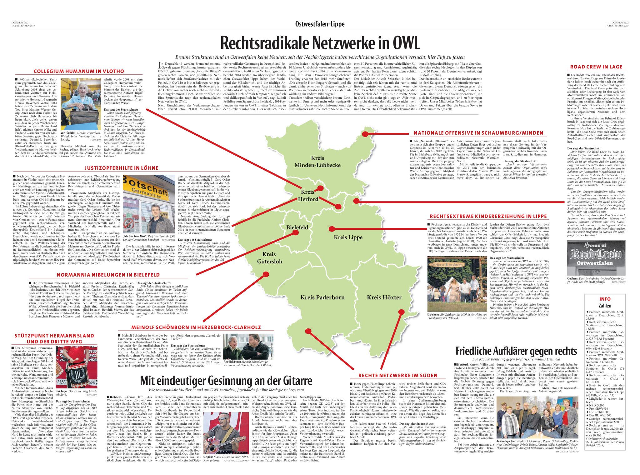 Neue Westfälische, [17.09.2015].  Texte und Fotos aus der Neuen Westfälischen sind urheberrechtlich geschützt.  Weiterverwendung nur mit schriftlicher Genehmigung der Redaktion.