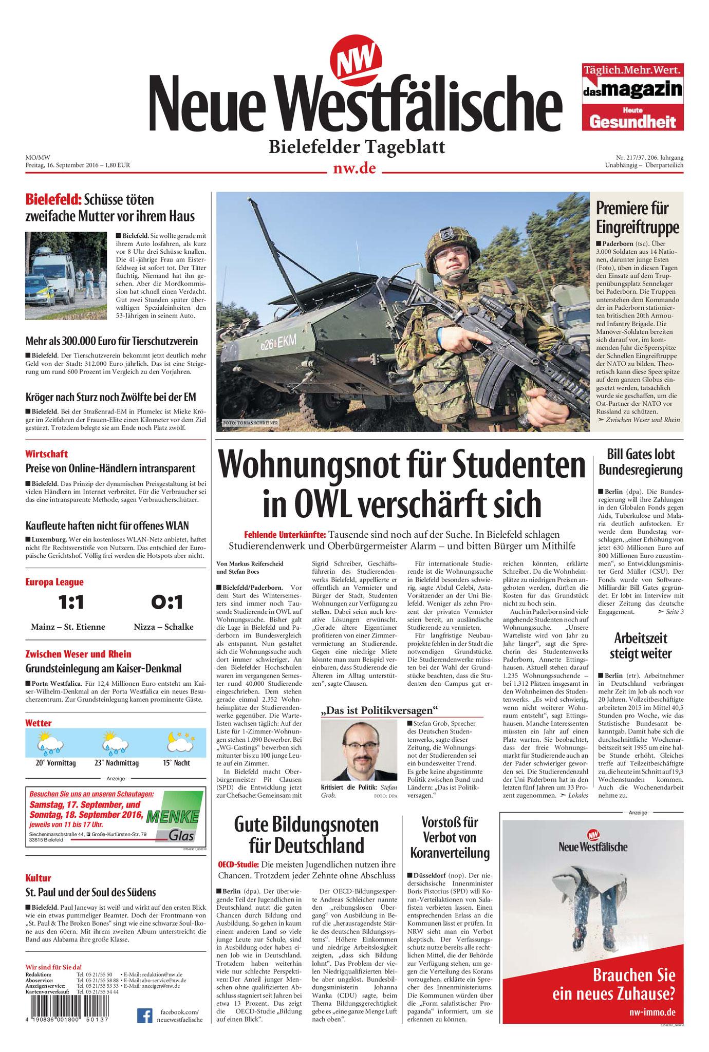 Neue Westfälische, [16.09.2016].  Texte und Fotos aus der Neuen Westfälischen sind urheberrechtlich geschützt.  Weiterverwendung nur mit schriftlicher Genehmigung der Redaktion.