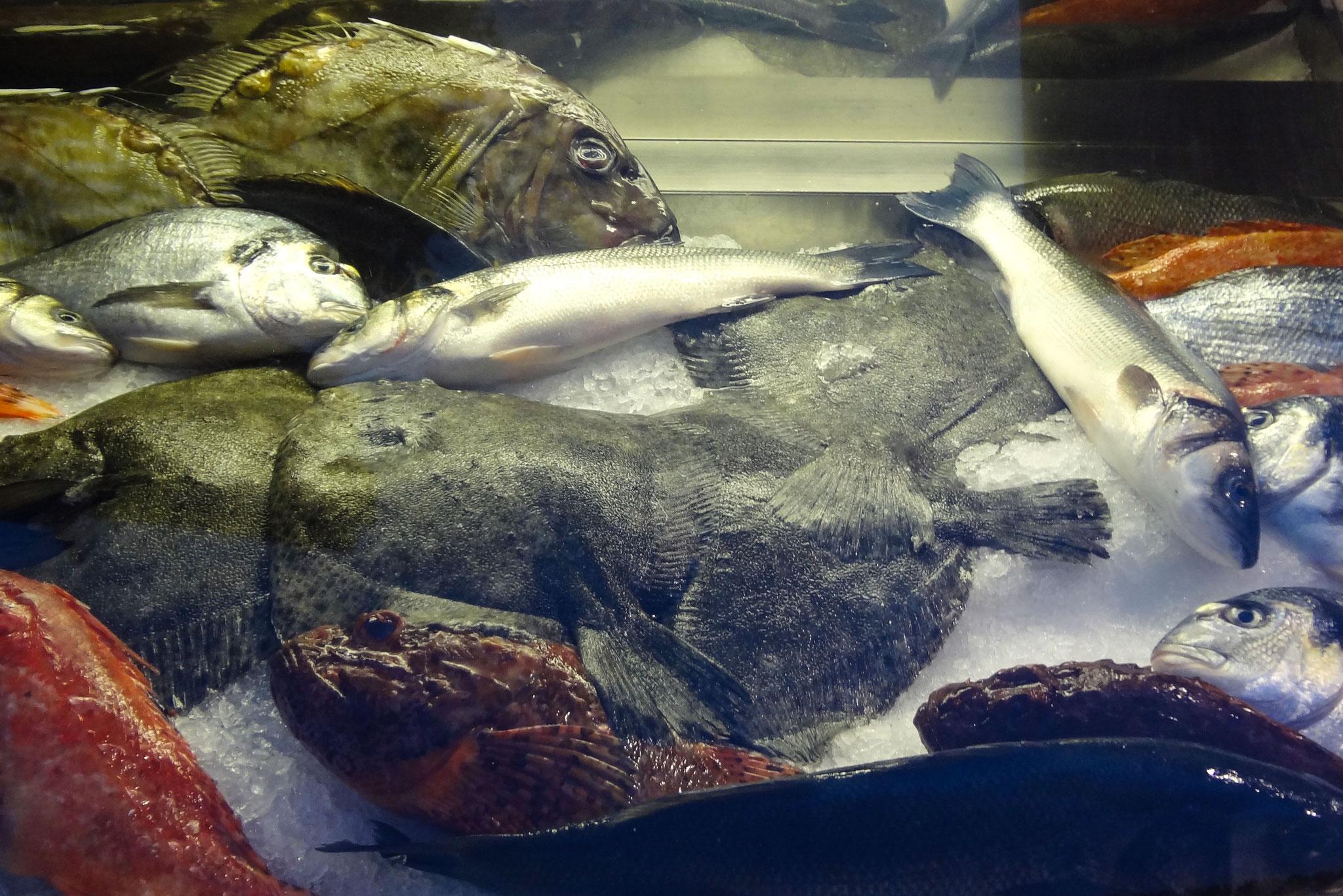 Fischangebot vor einem Restaurant in Trogir