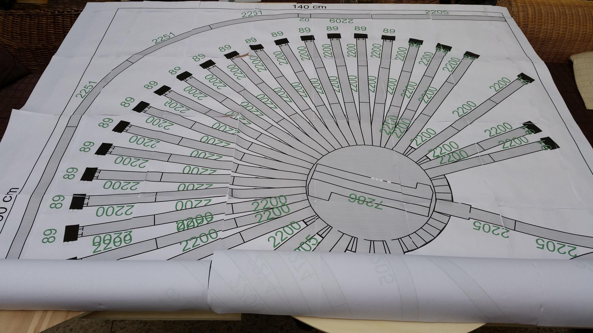 Abschließend für Bautag 8 noch den Plan zur Überprüfung der Rahmen und Segmente aufgelegt :) Passt alles