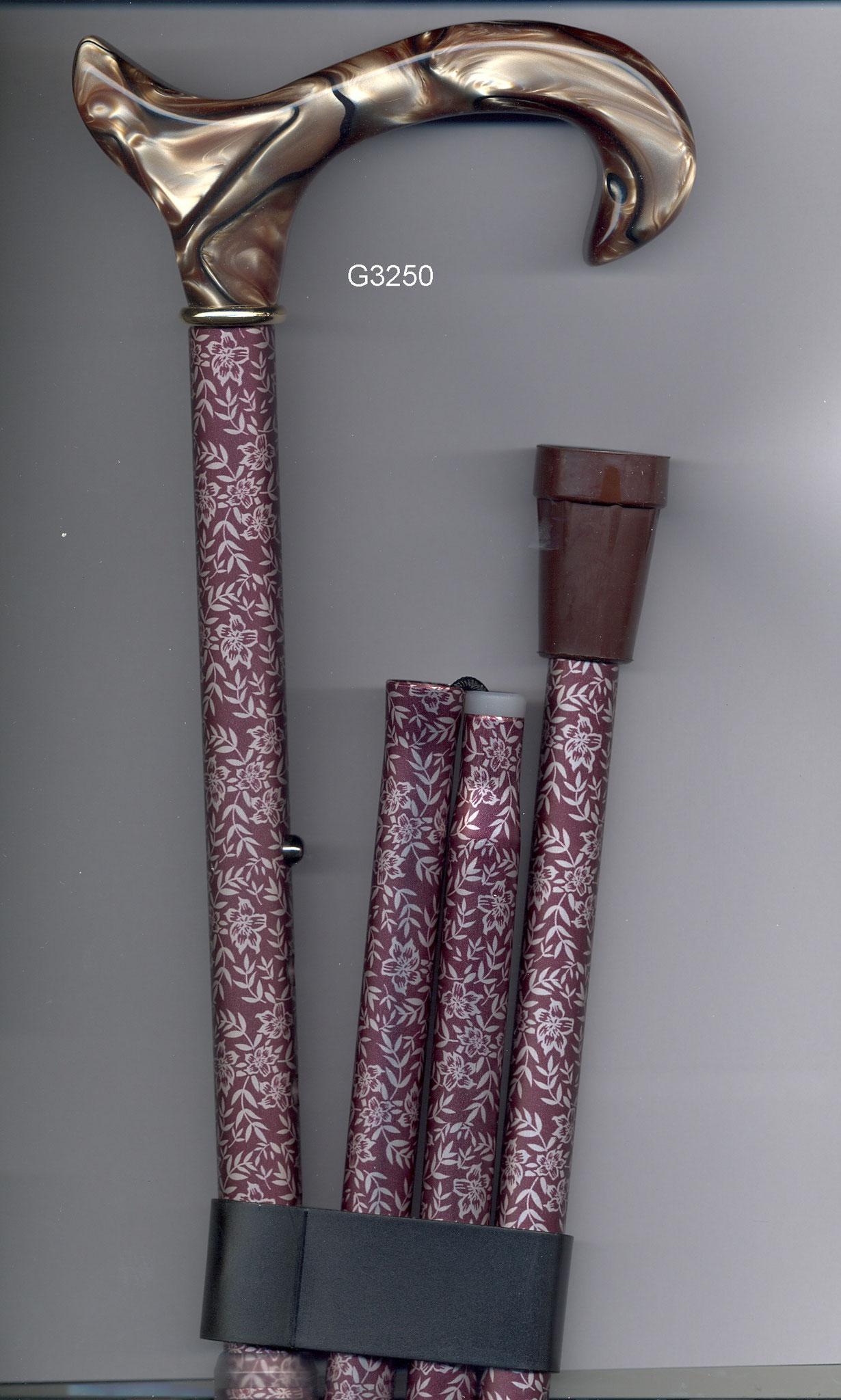 G3250 Béquille pliante alu poignée grise marbrée tube brun fleuri