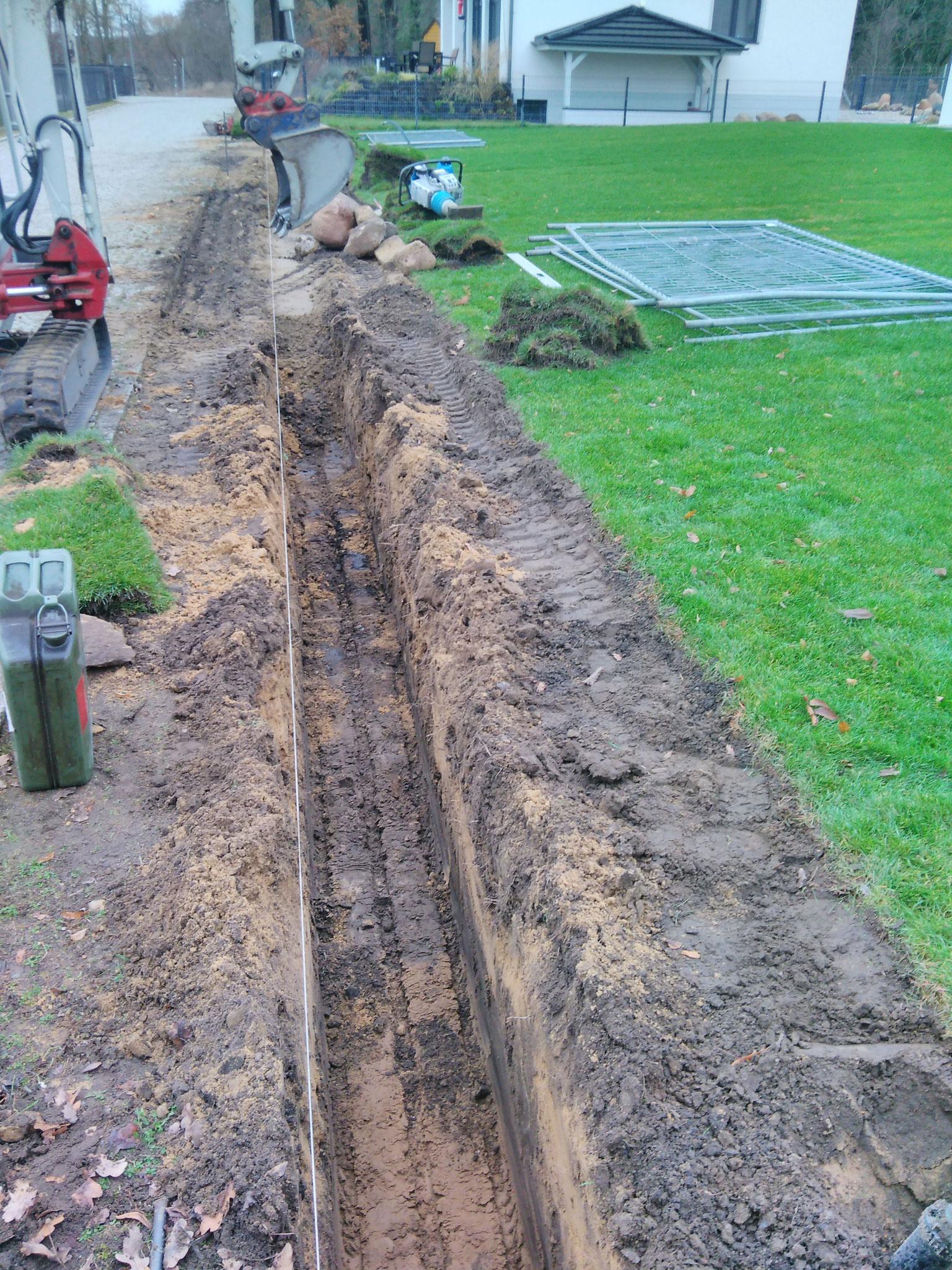 Fundamentgraben für Friesenwall
