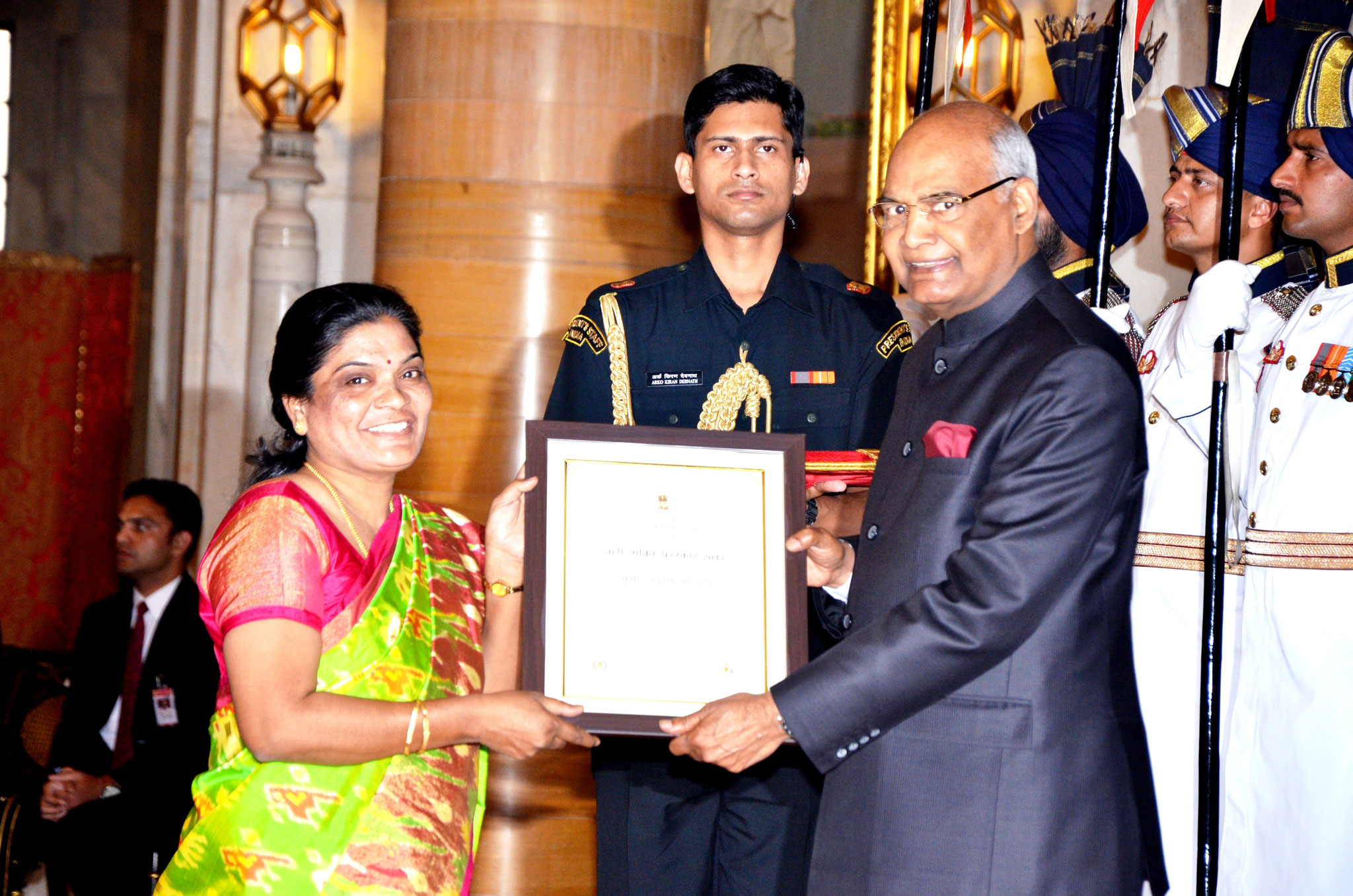 CMM President receives the Highest Civilian Honor for Woman -Nari Shakthi Puraskar Award-2017 by the hands of Honorable President of India on the 8th.March,2018 at the Rastrapathi Bhawan,New Delhi