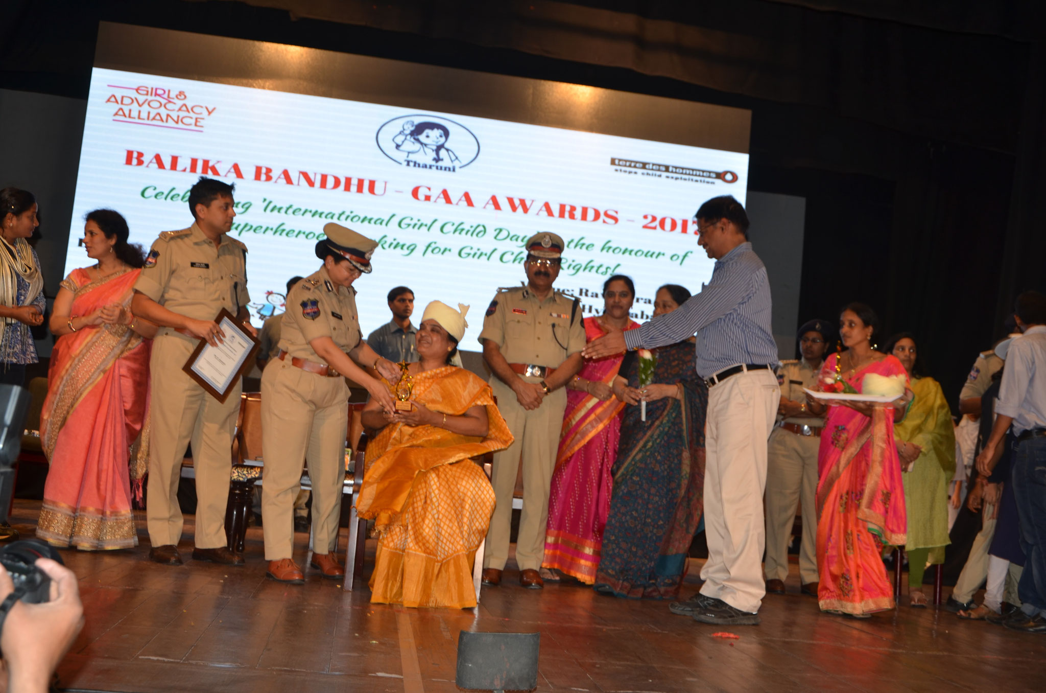 Balika Bandhu Gaa Award-2017 by the hands of Sri.Mahender Reddy,IPS,Commissioner Of Police-Hyderabad,Ms.Swathi Lakra,IPS,Addl.Commissioner of Police,Hyderabad and Others on the occasion of International Girl' Child Day observed at Ravindra Baharthi ,Hyd.