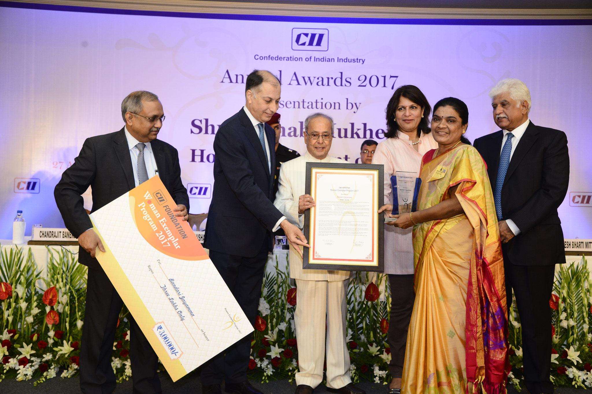Ms.B.Jayamma,President -CMM receives CII Woman Exemplar Award 2017 by the hands of Shri.Pranab Mukherjee,Hon'ble President of India on April.27.2017 at Hotel ITC Maurya ,New Delhi.