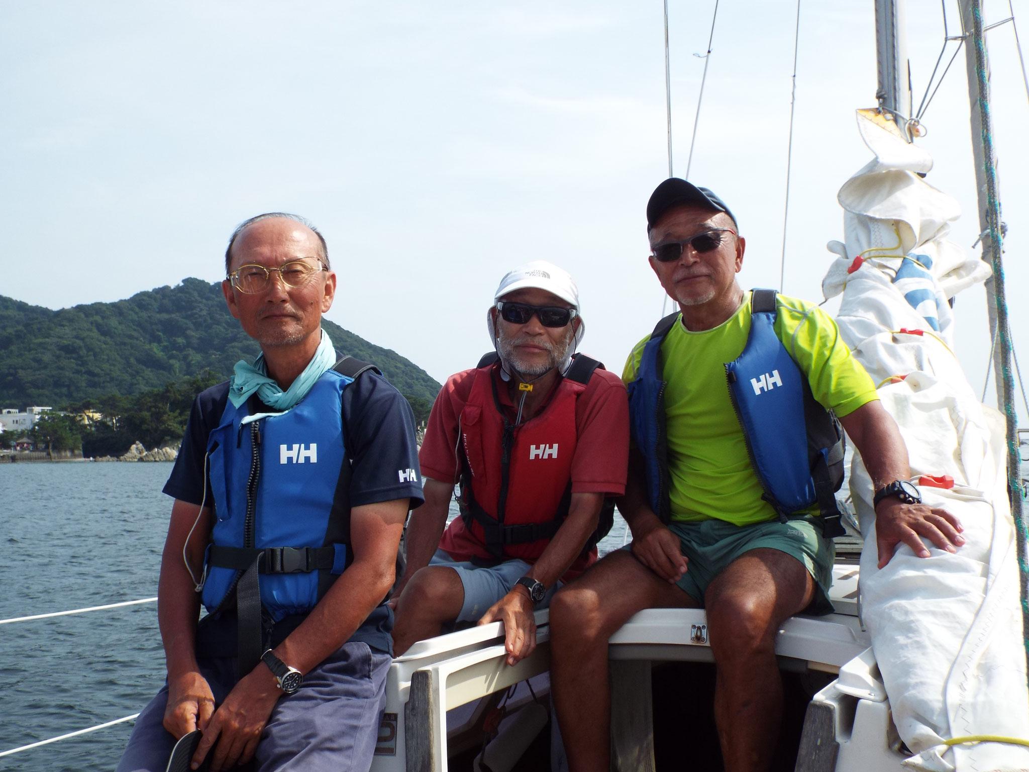 ヨット部OBのオーナー達、 青池さん、川村さん、佐藤さん