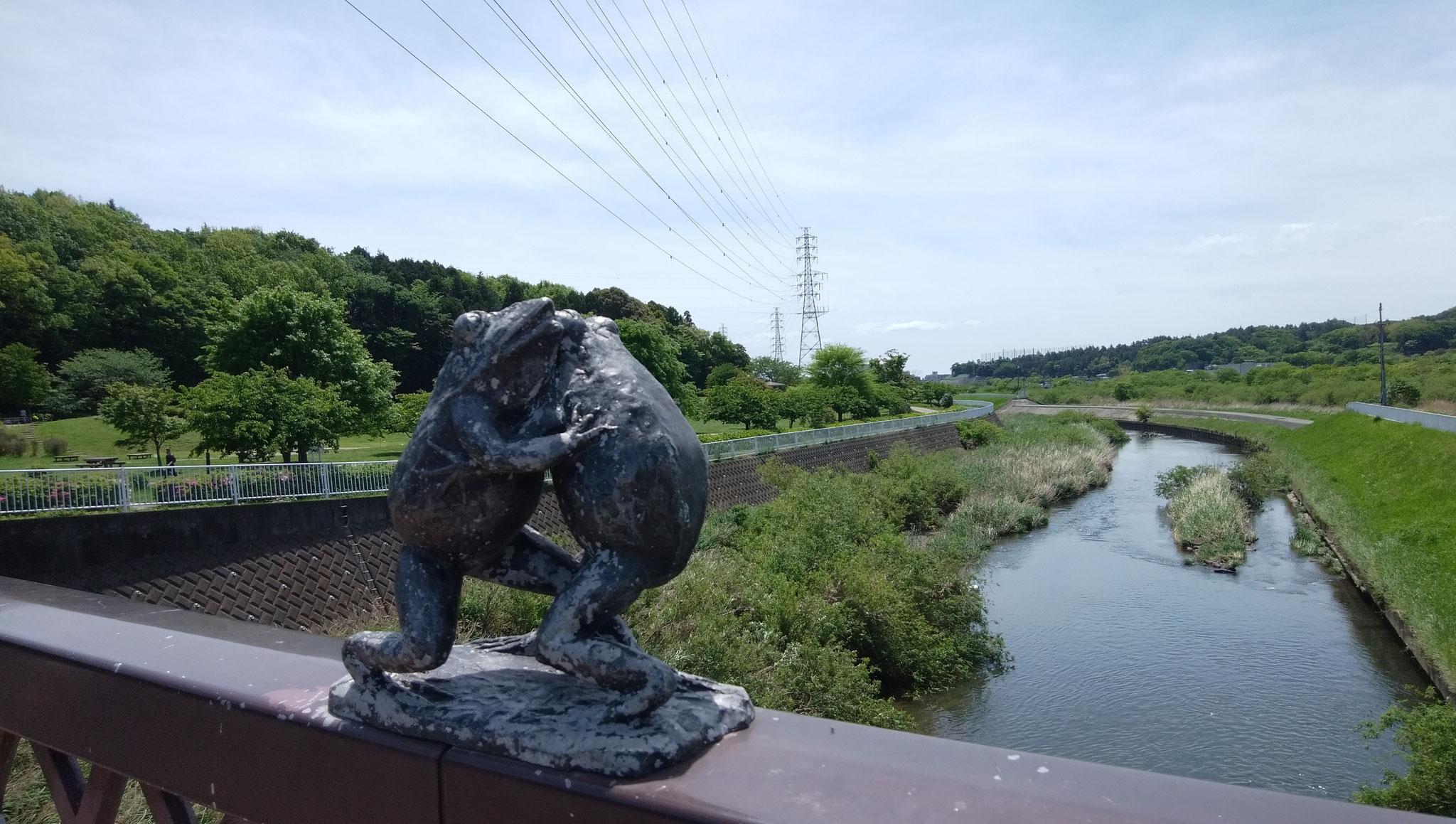 引地川天神橋の欄干上のかえるの相撲像