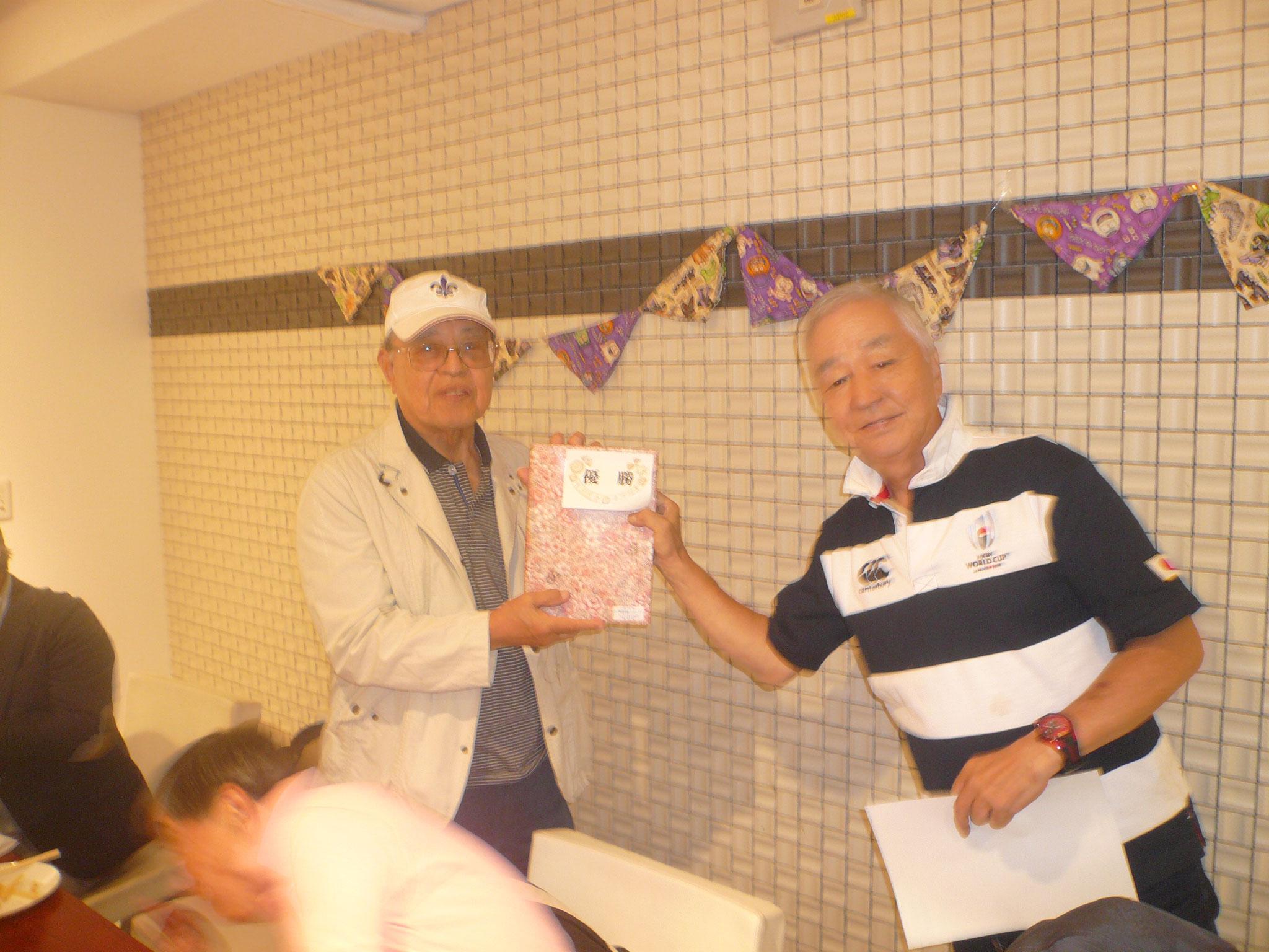 優勝は浜田さん今日の記念大会に備えて練習し狙い通りとご機嫌