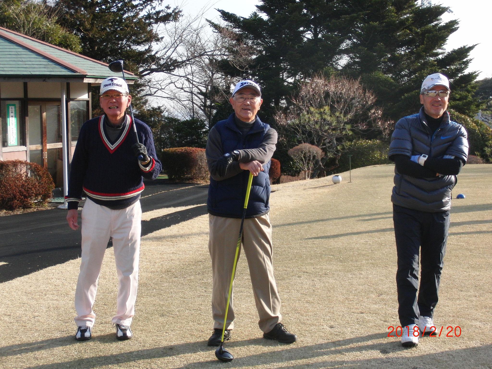 スタートを見学する 大島さん、3位の則田さん、 ベスグロの小林さん