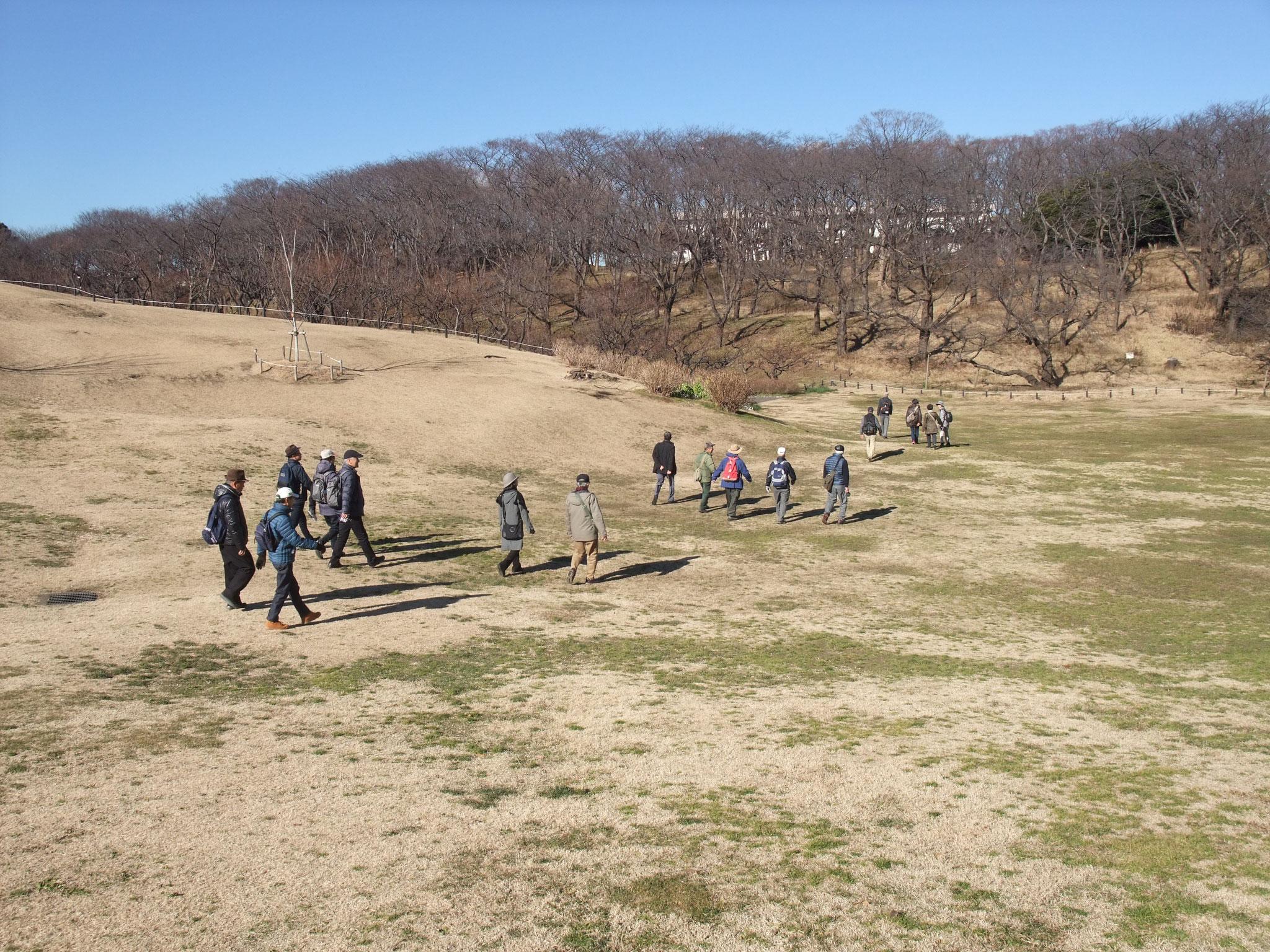 元根岸競馬場馬場跡の芝生広場を散策
