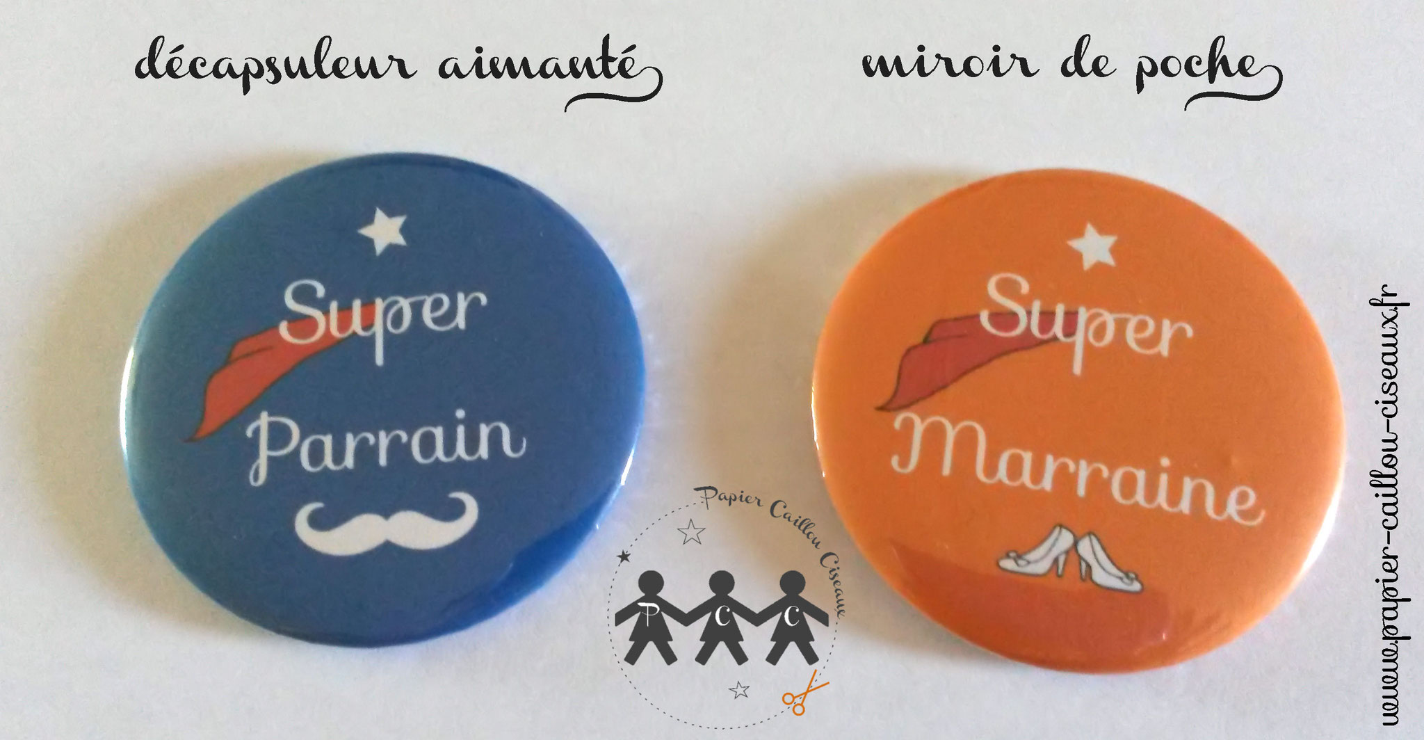 Duo de cadeaux parrain marraine -Orange & Bleu-