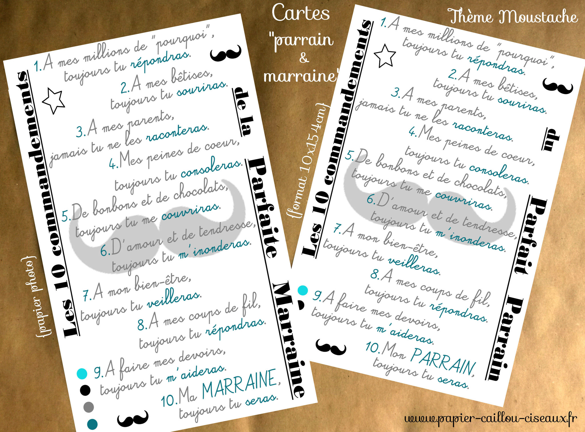 Cartes parrain marraine moustache