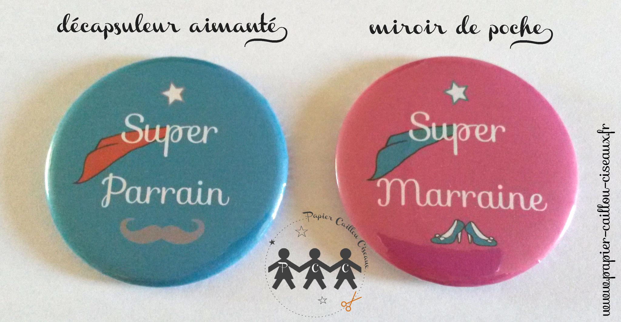 Duo de cadeaux parrain marraine -Turquoise & Framboise-
